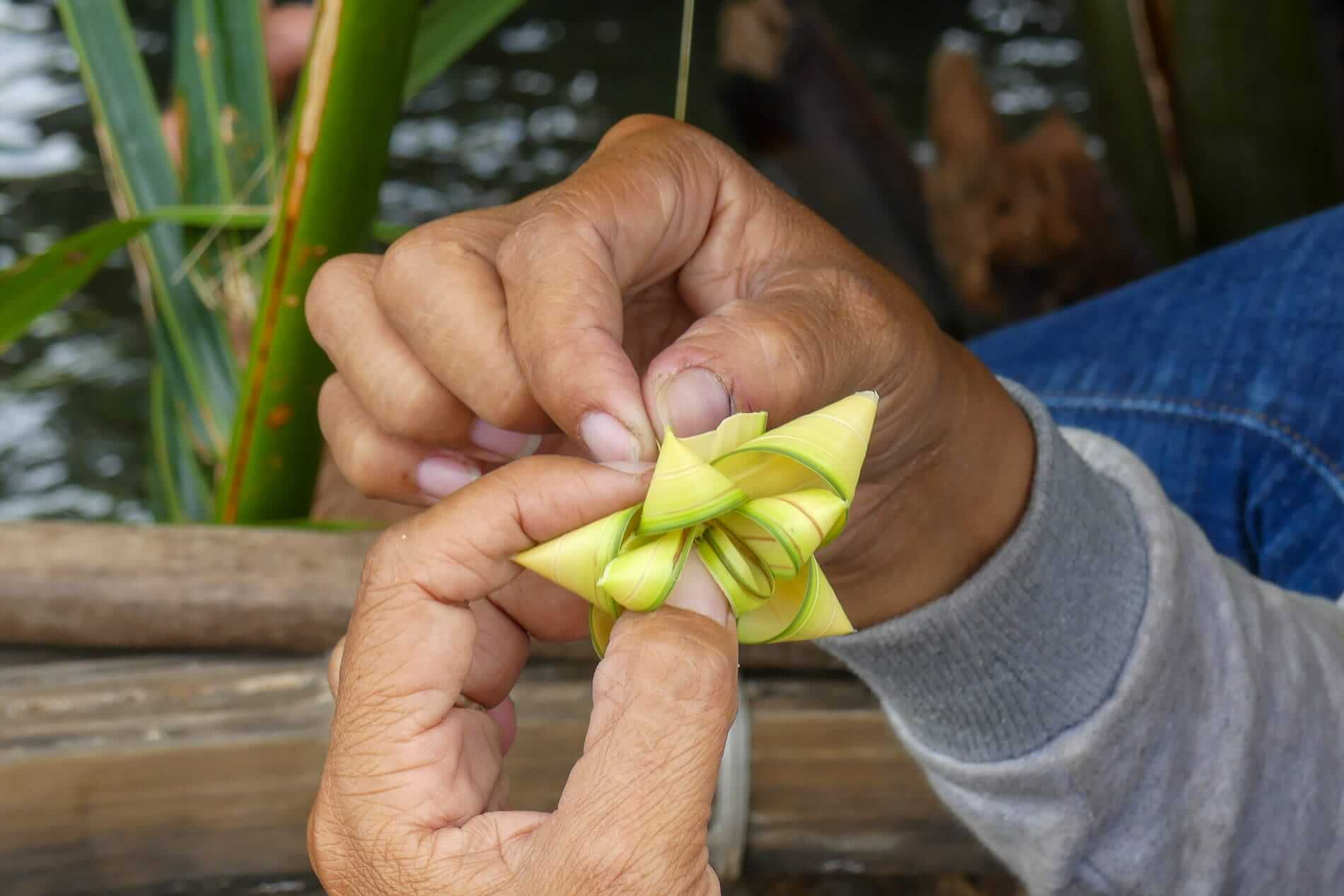 A palm leaf origami