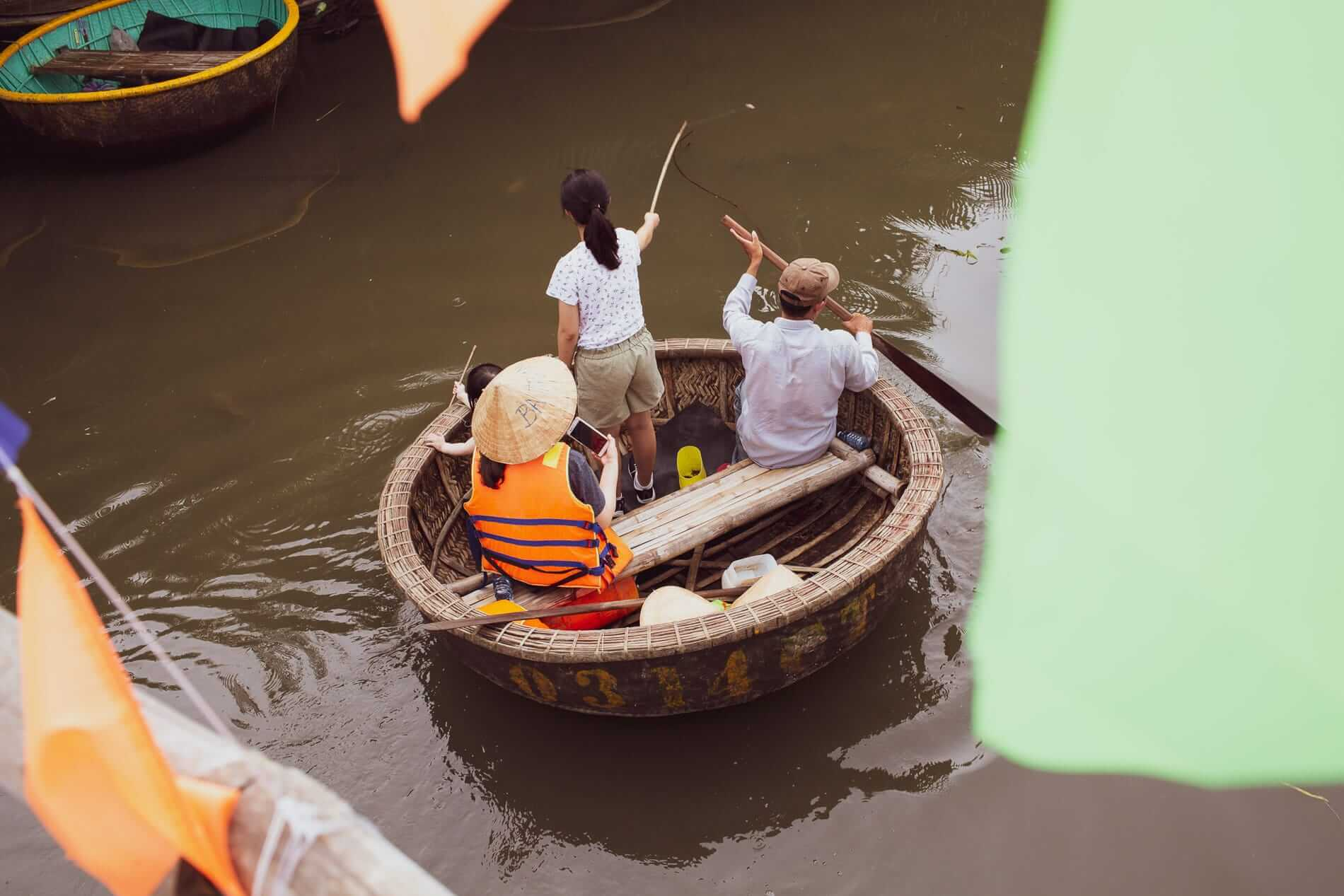 a basket boat with travellers