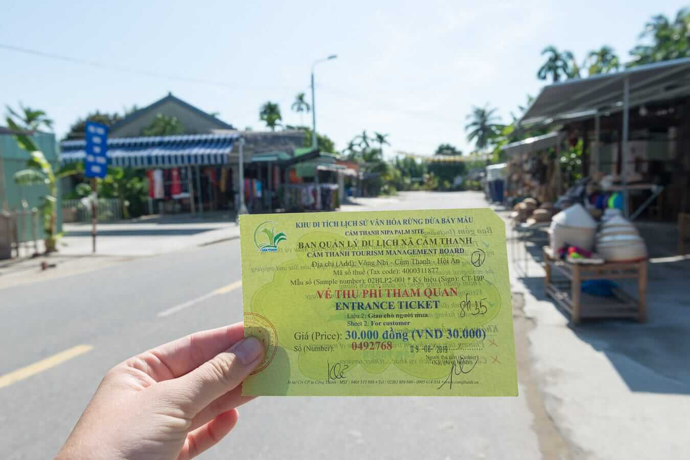 Entrance ticket to the Coconut Village