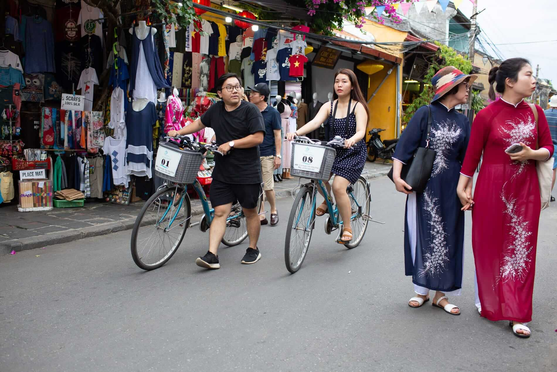 Cyclists and pedestrians sharing Hoi An