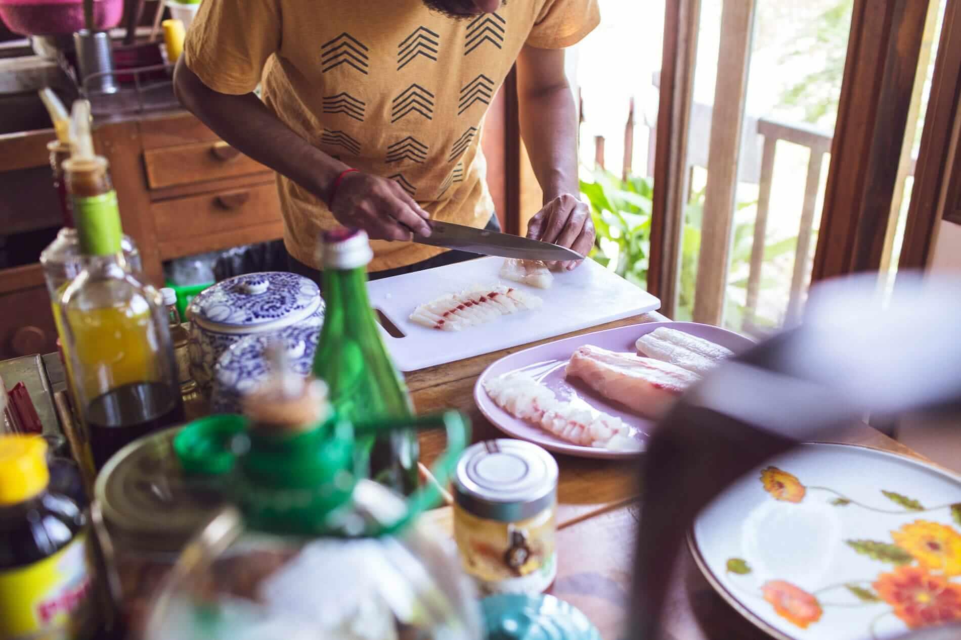 Preparing ceviche