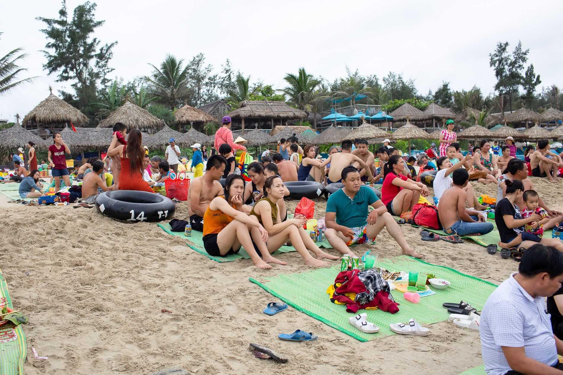 An Bang beach with tourists