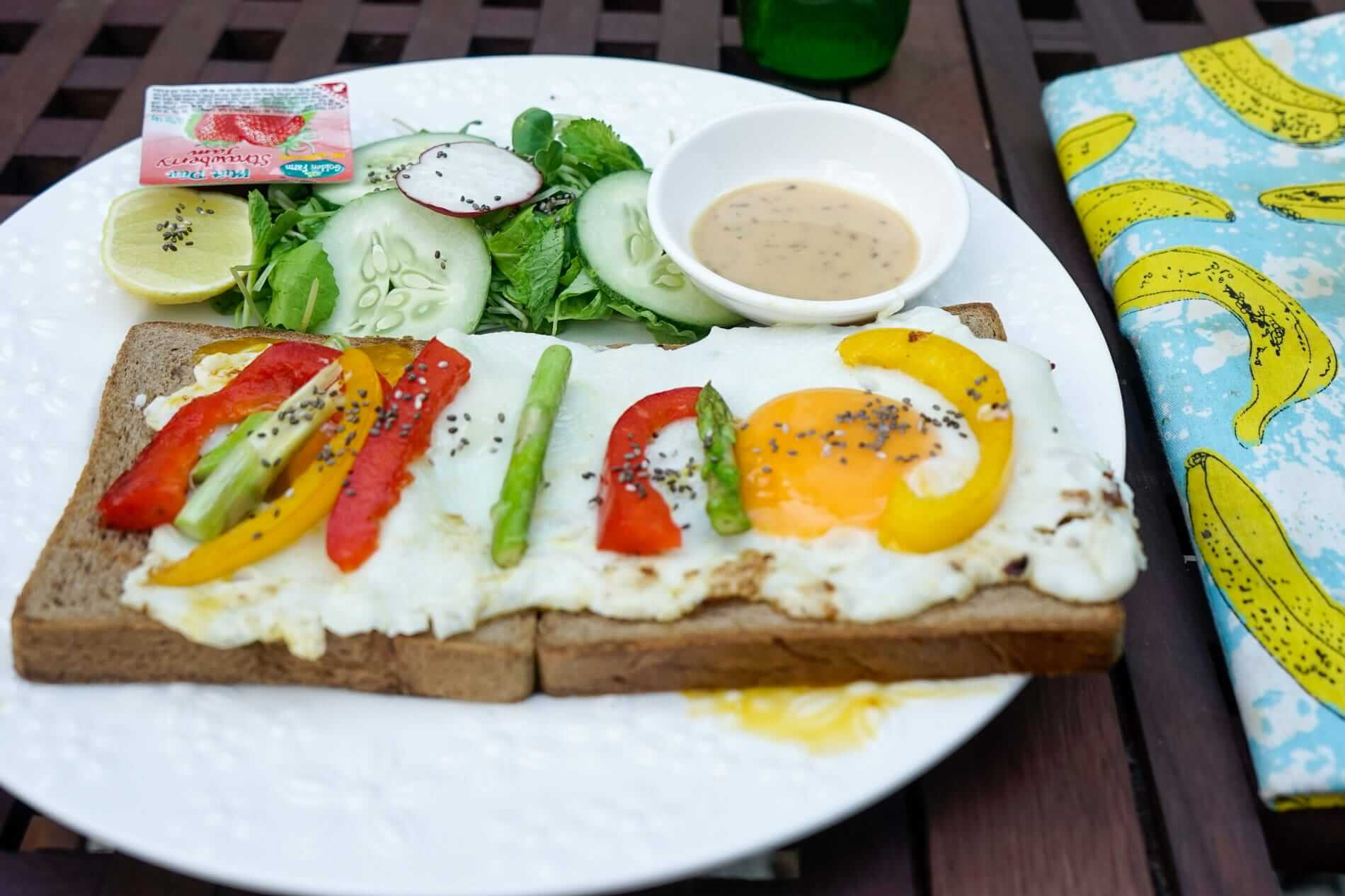 Plate of eggs and grilled vegetables