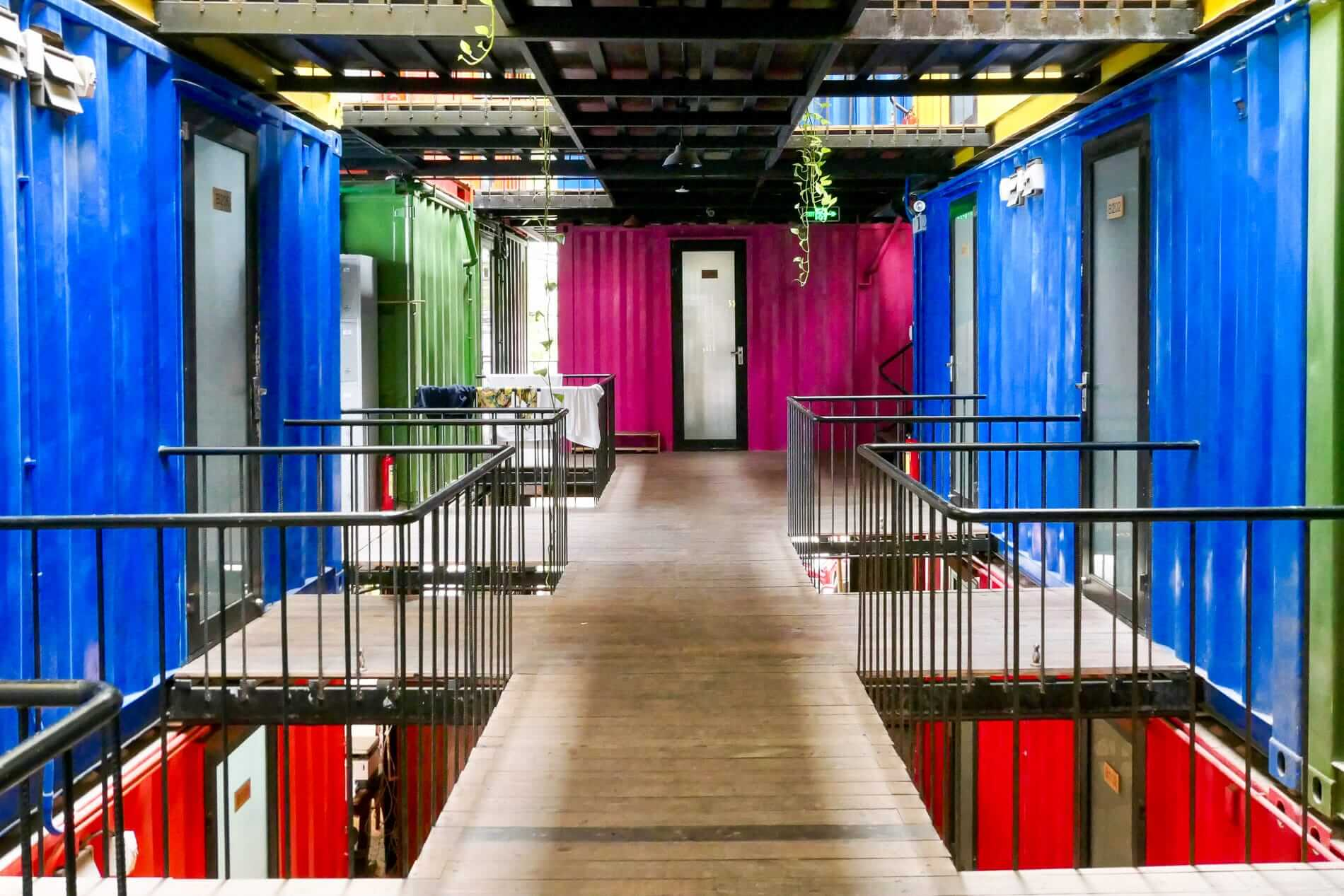 colourful shipping containers at Rom Casa in Da Nang