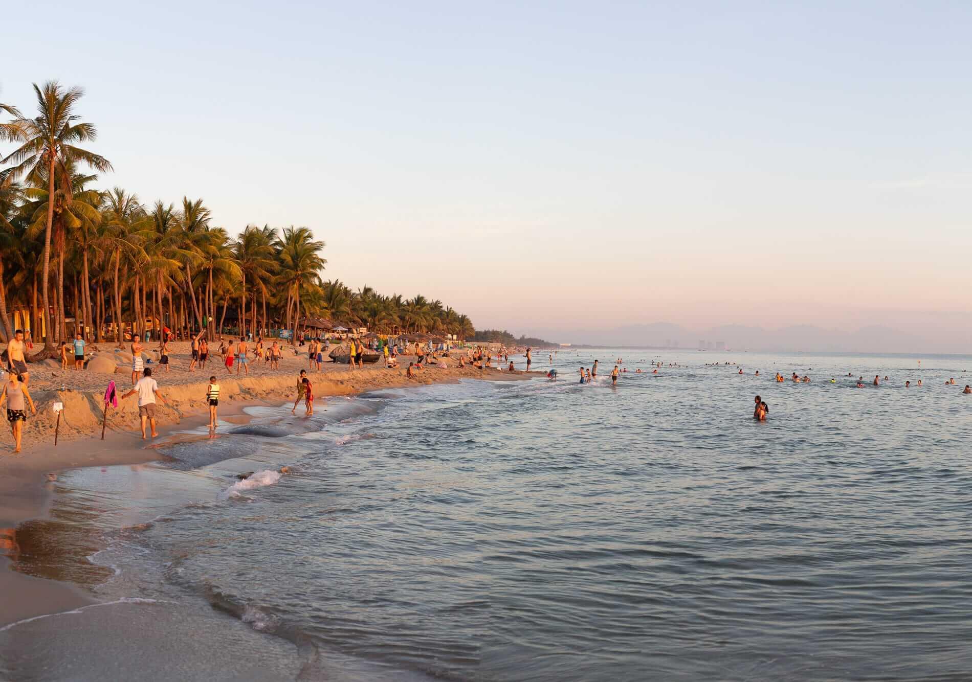 Hoi An's beach in the glow of sunrise.
