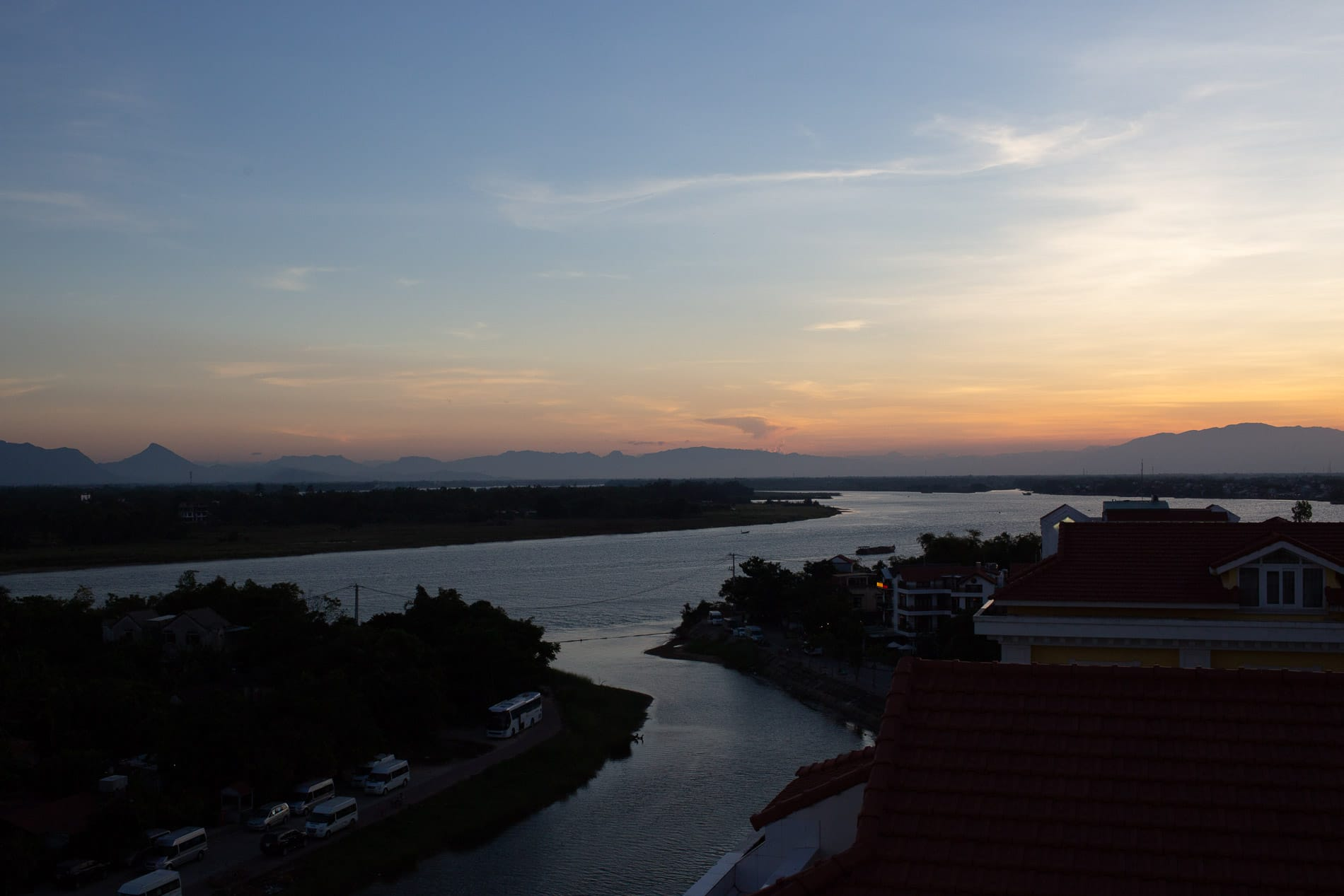Sunset over the Thu Bon River