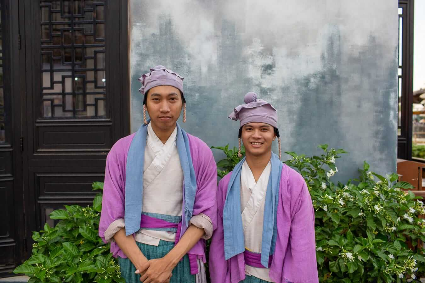 Vietnamese performers in purple