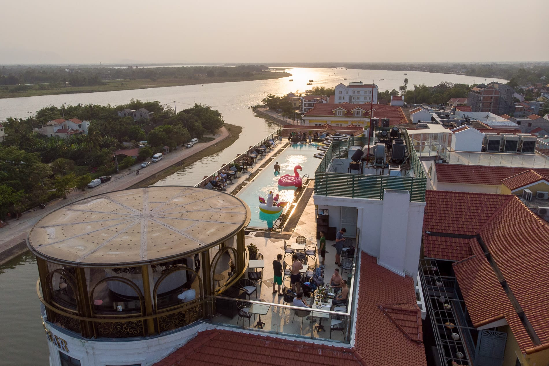 Drone view of The Deck bar