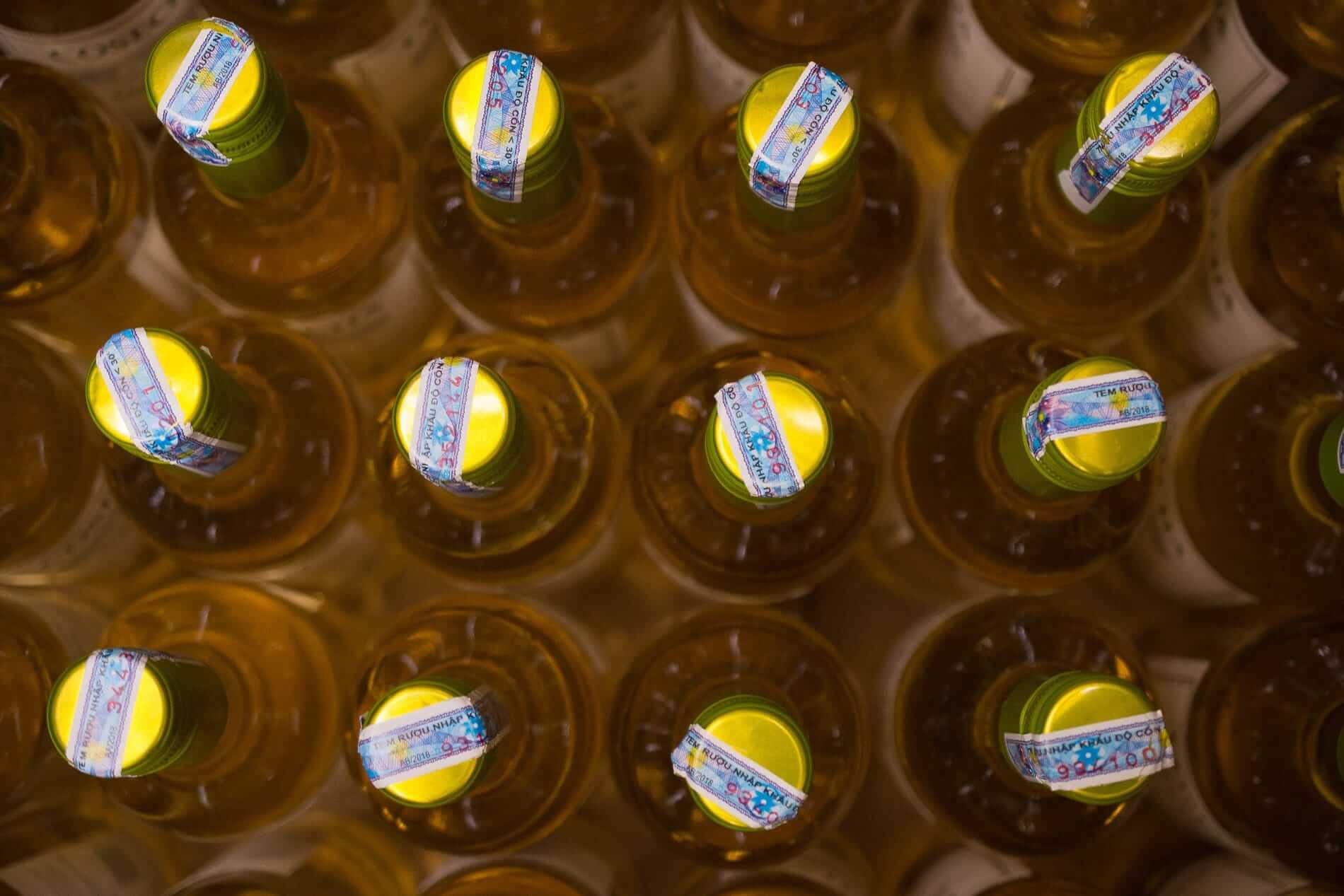 Bottles piled at Le20 wine bar