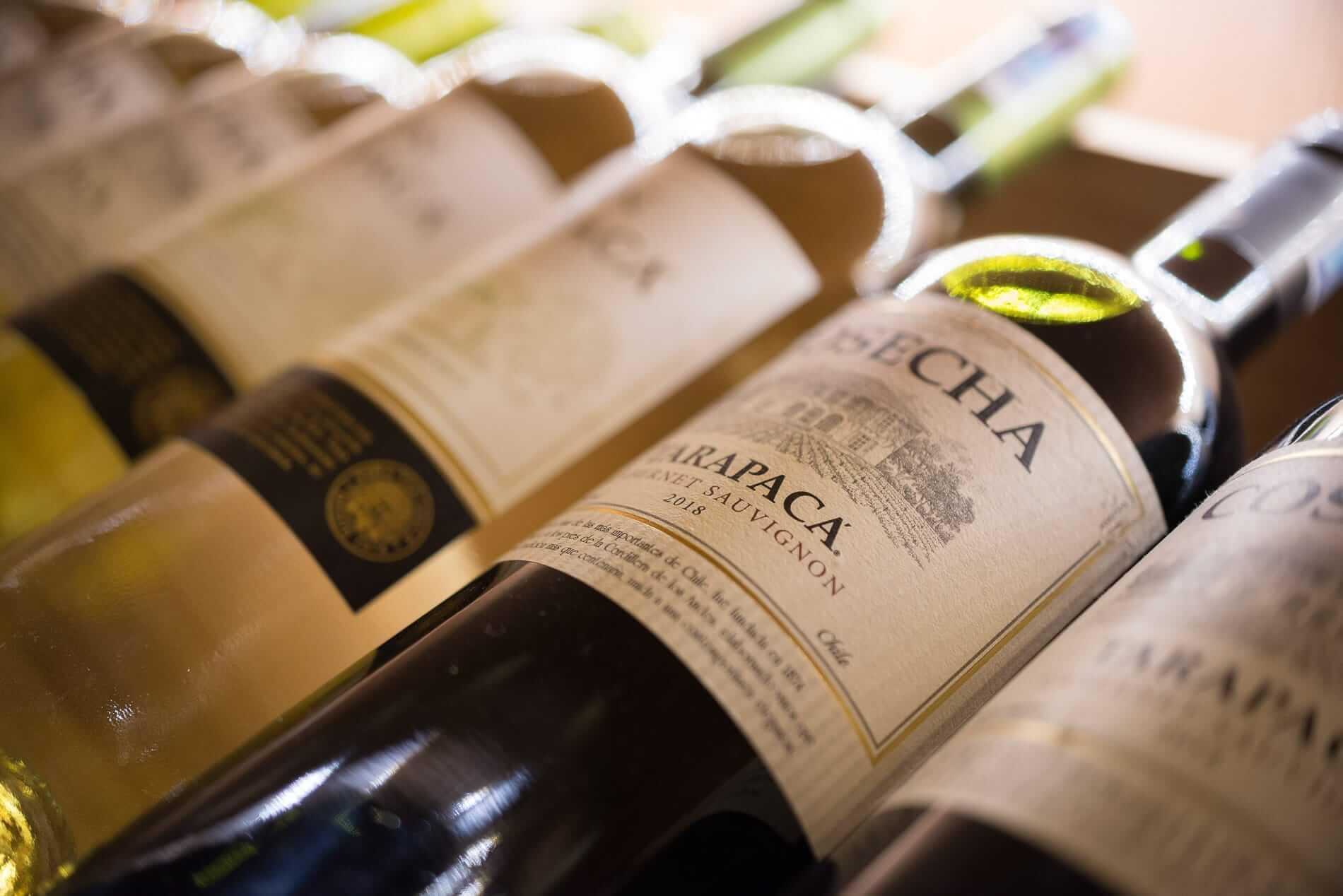 Rows of fine wine at Daloc Wine shop