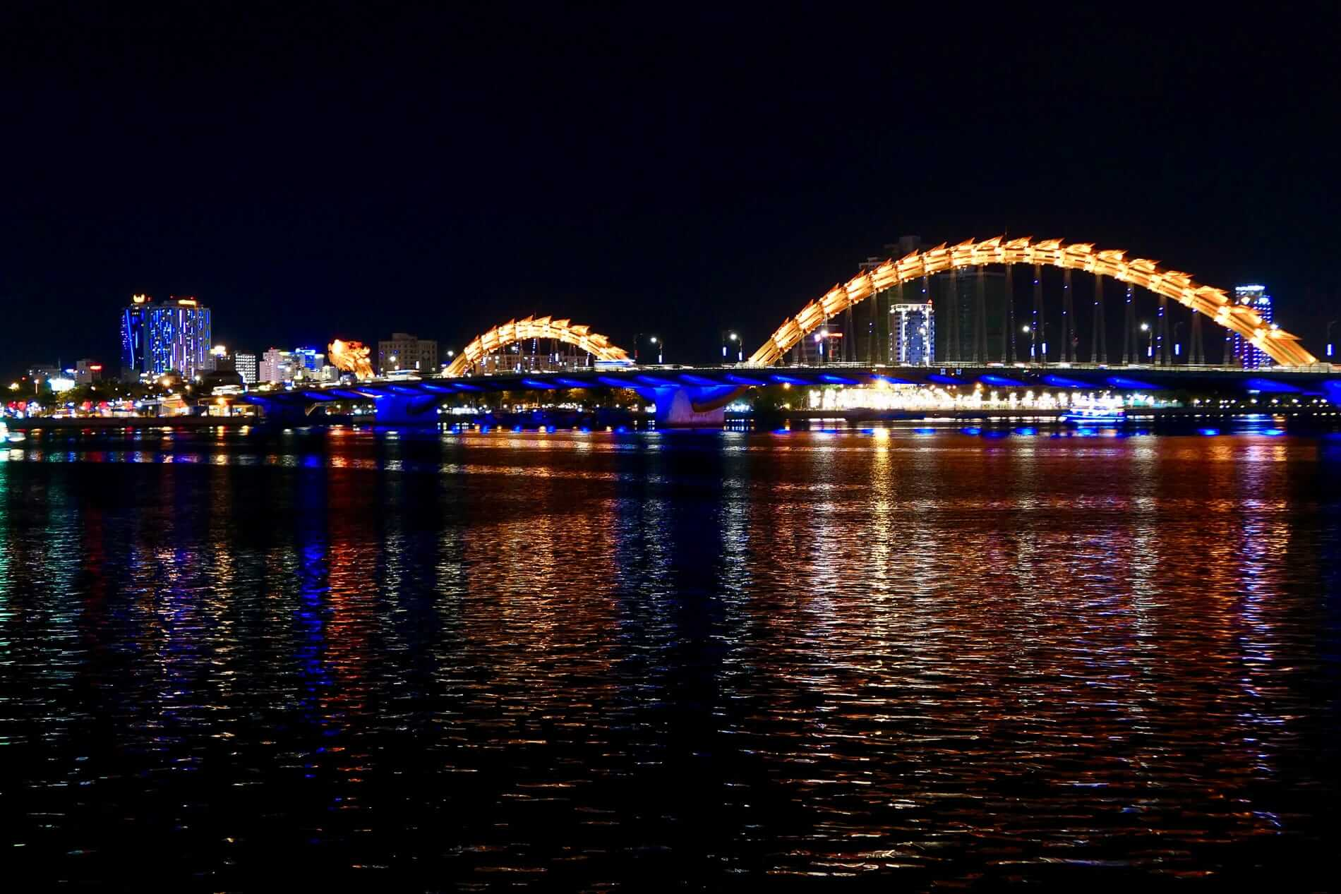 the dragon bridge at night