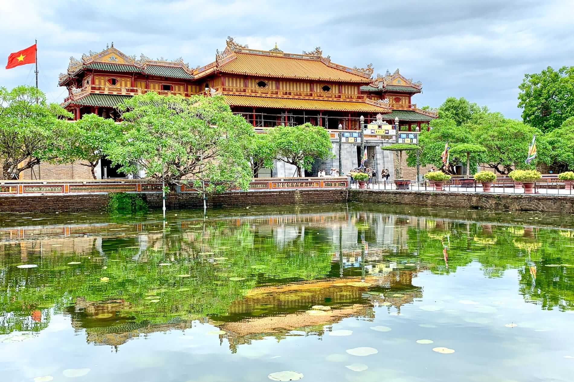 Hue Citadel reflected in water lily ponds