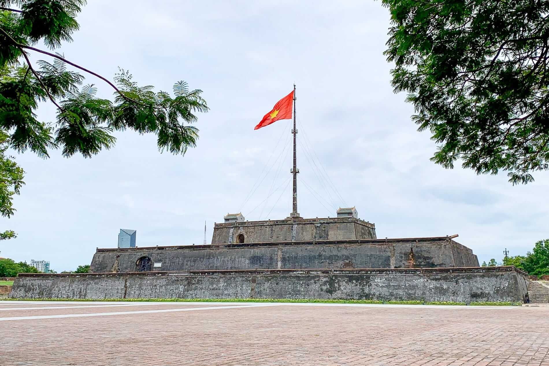 A Vietnamese flag flies over Hue Citadel