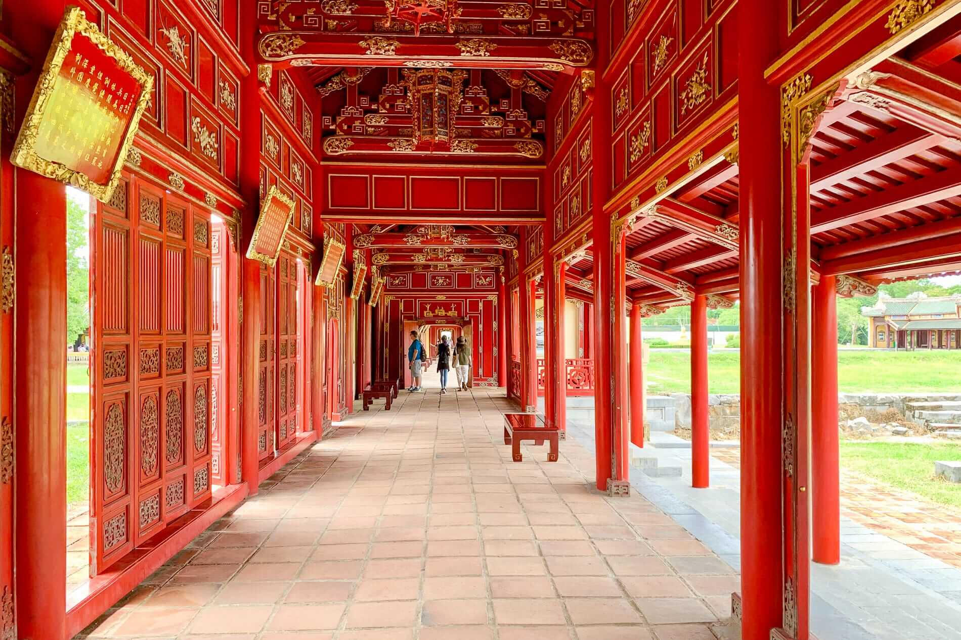 Red wood paneling at Hue Imperial City