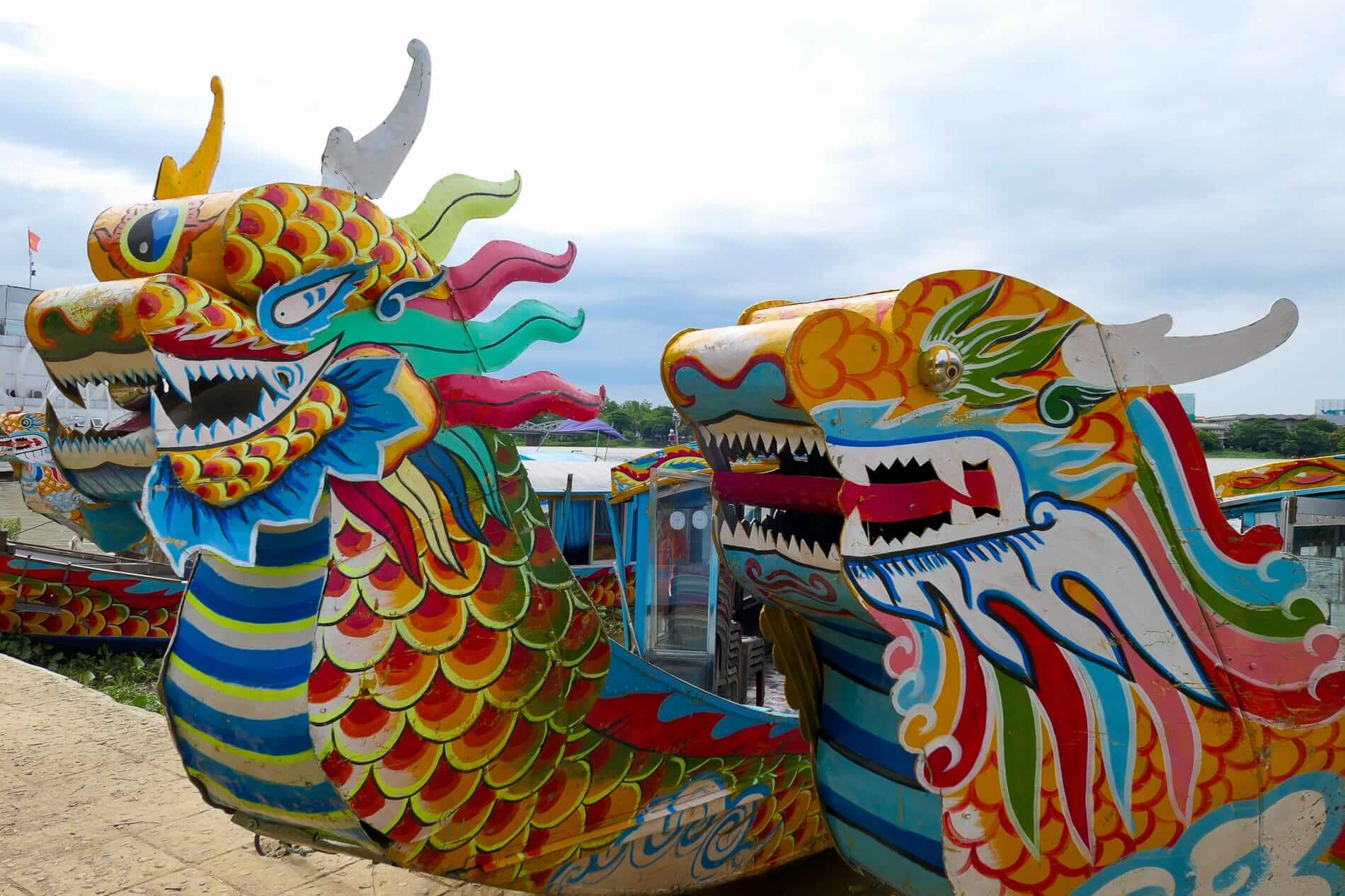 Dragon figureheads on the tour boats in Hue City