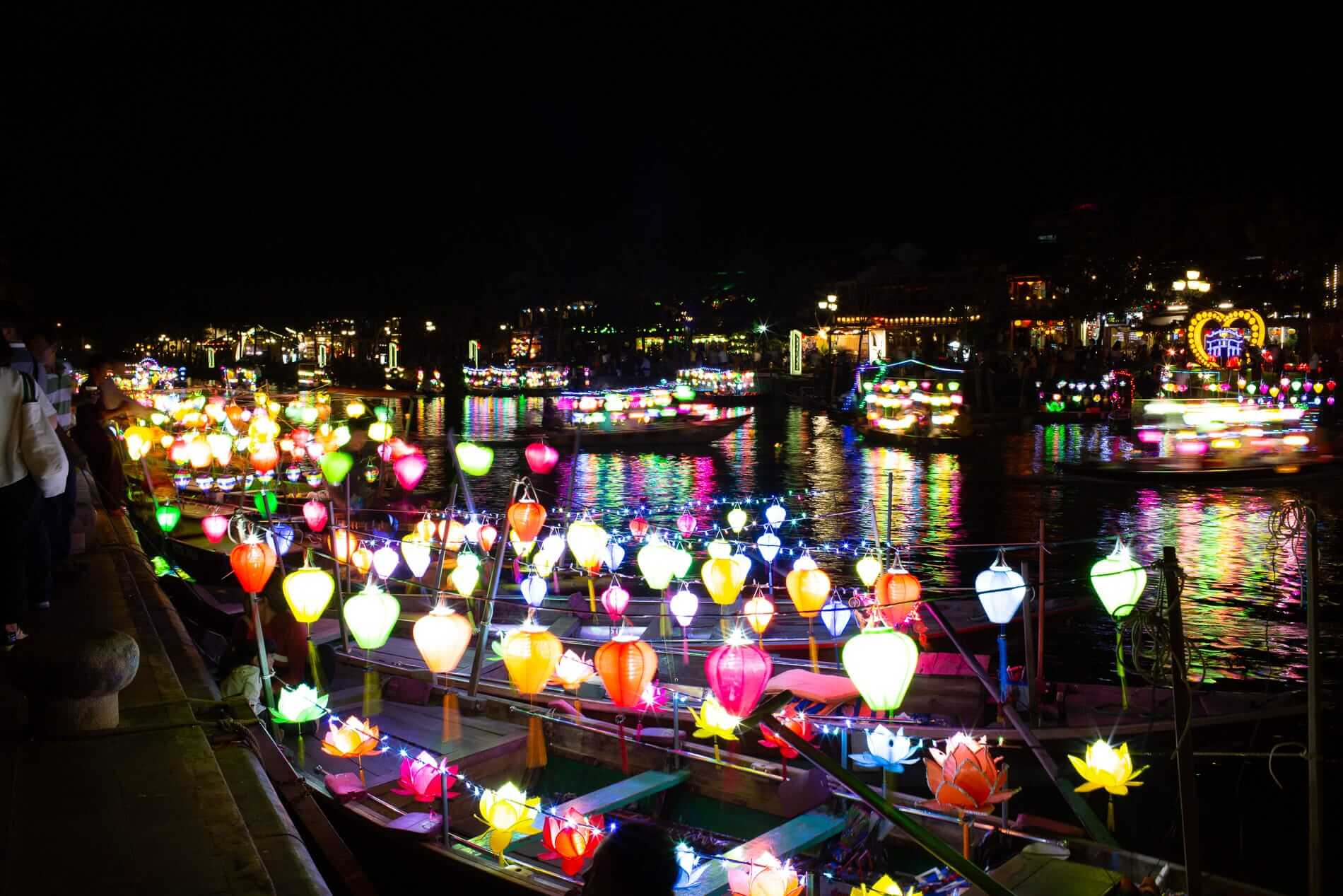 Lantern boats light up the river