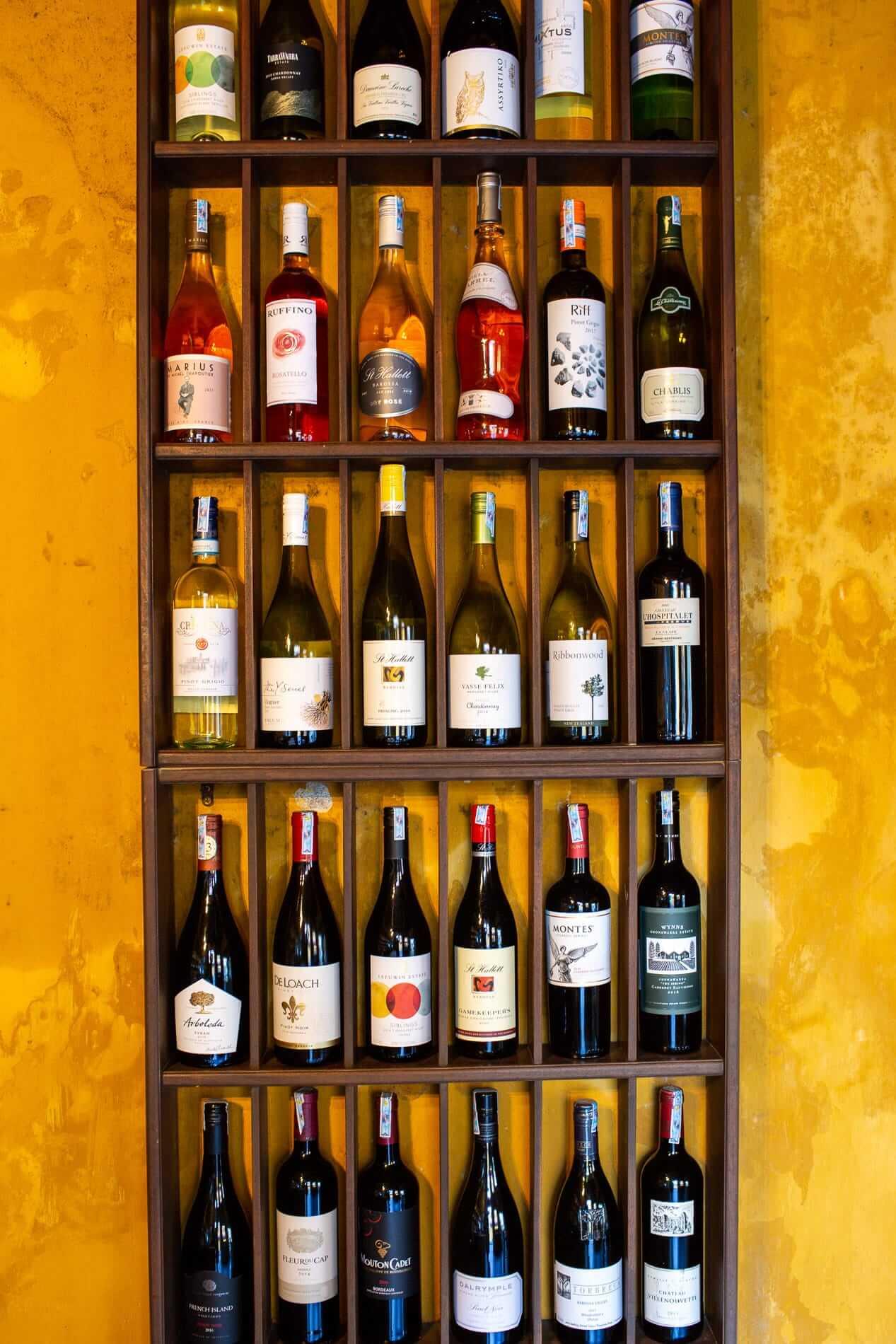 Wine on display at White Marble Wine Bar