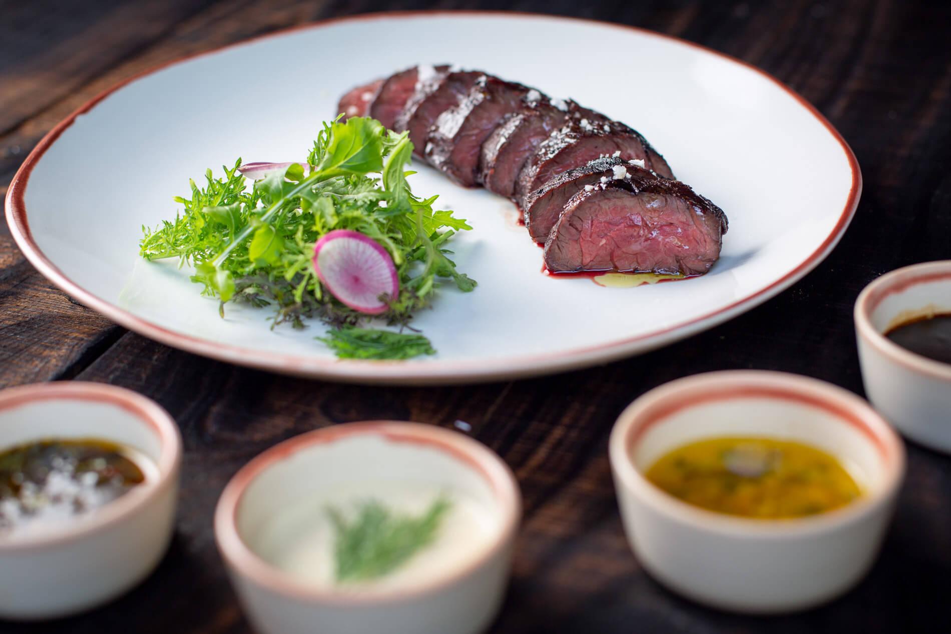 Premium steak and sauces