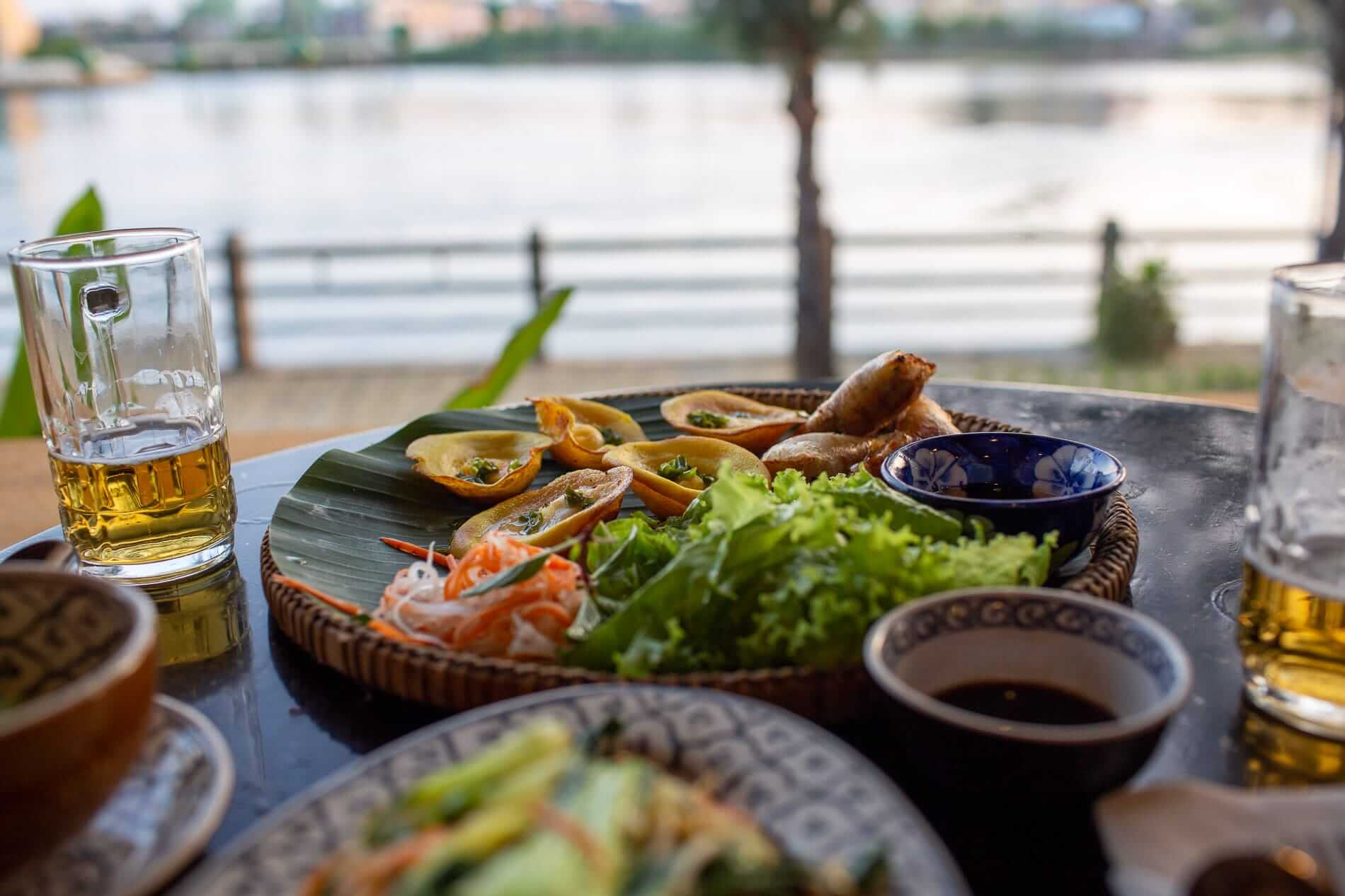 Authentic Vietnamese dishes at Hoa Hien Restaurant's riverside