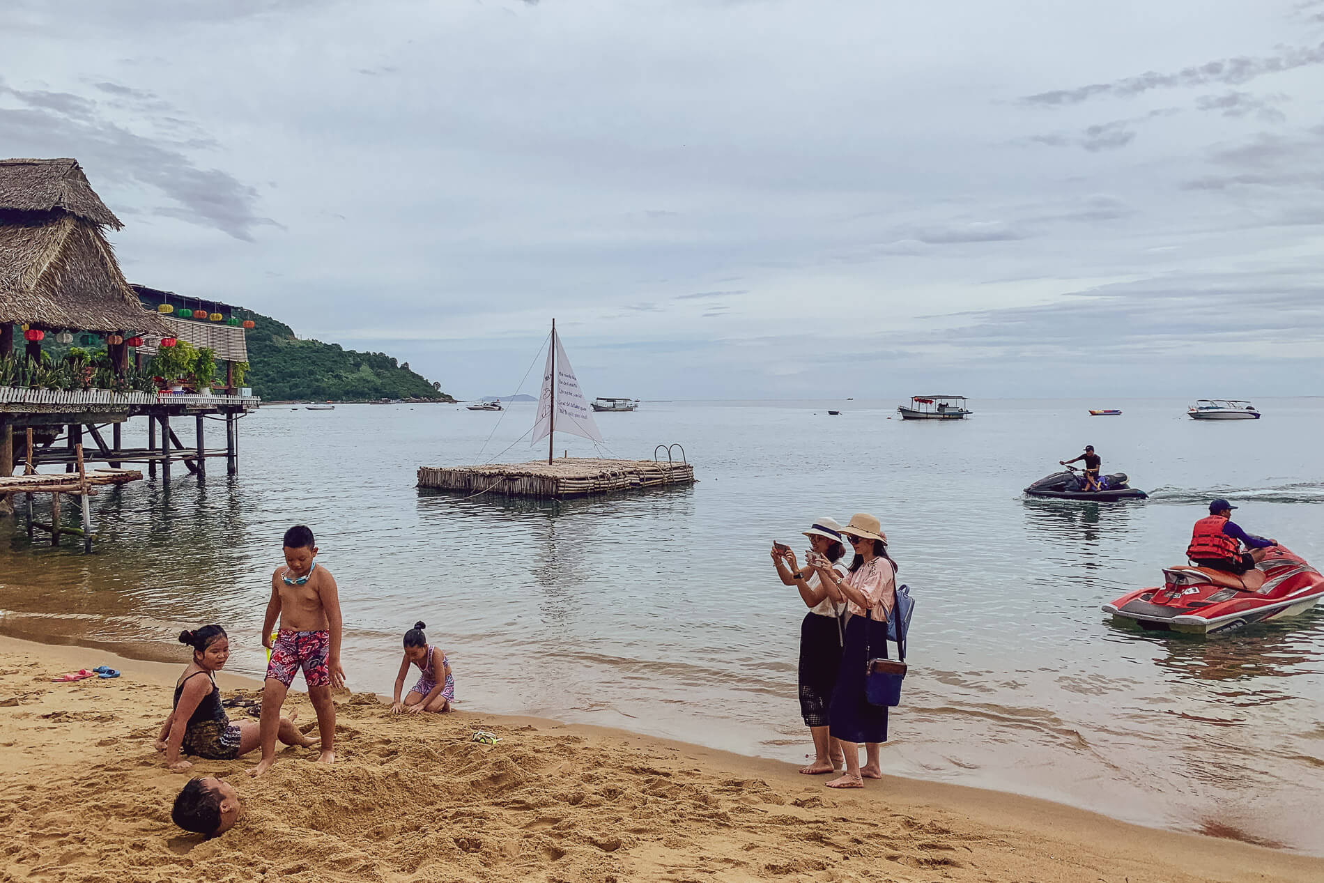 Bai Rang Beach and tourists at Da Nang Beach