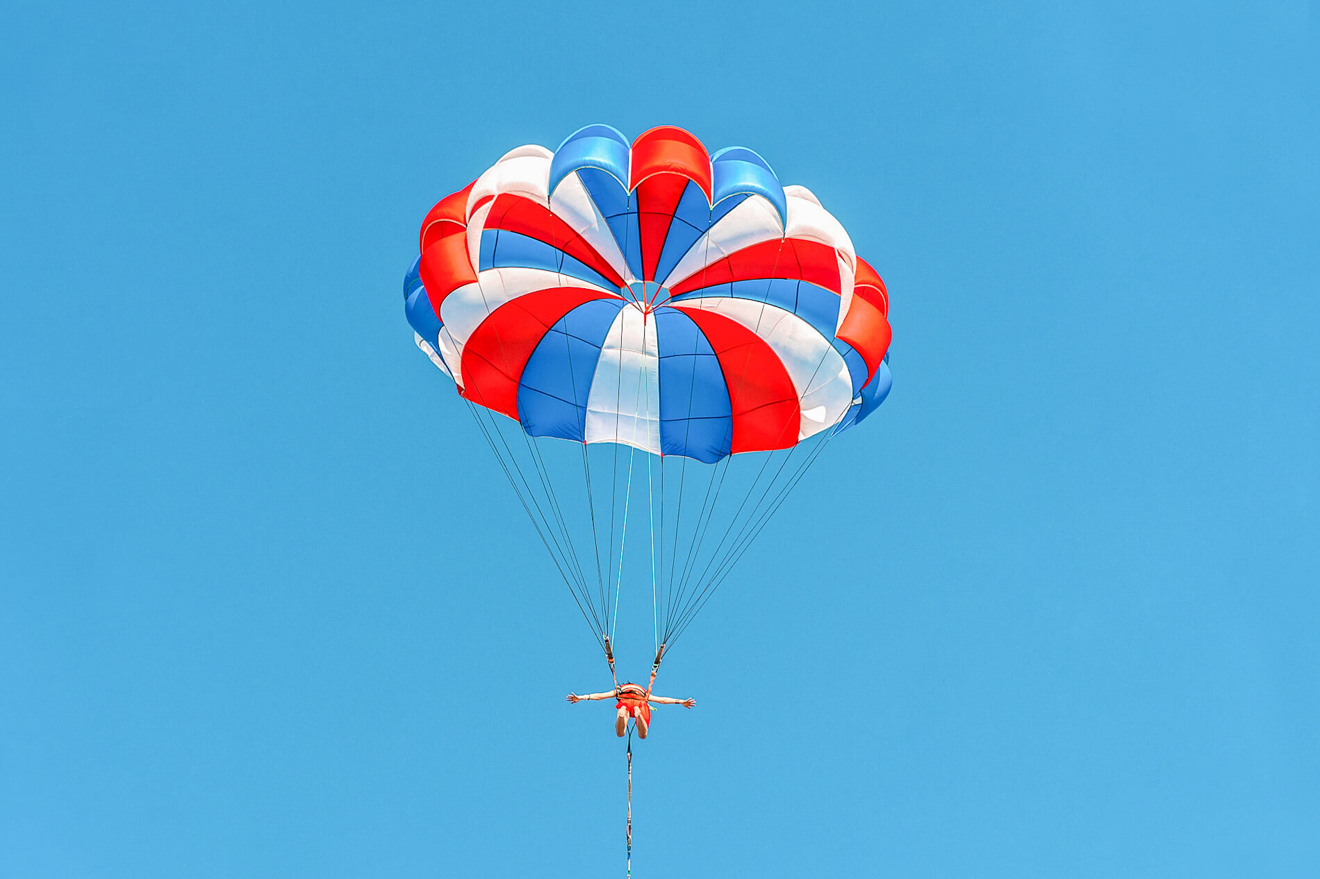 Brightly coloured parasail