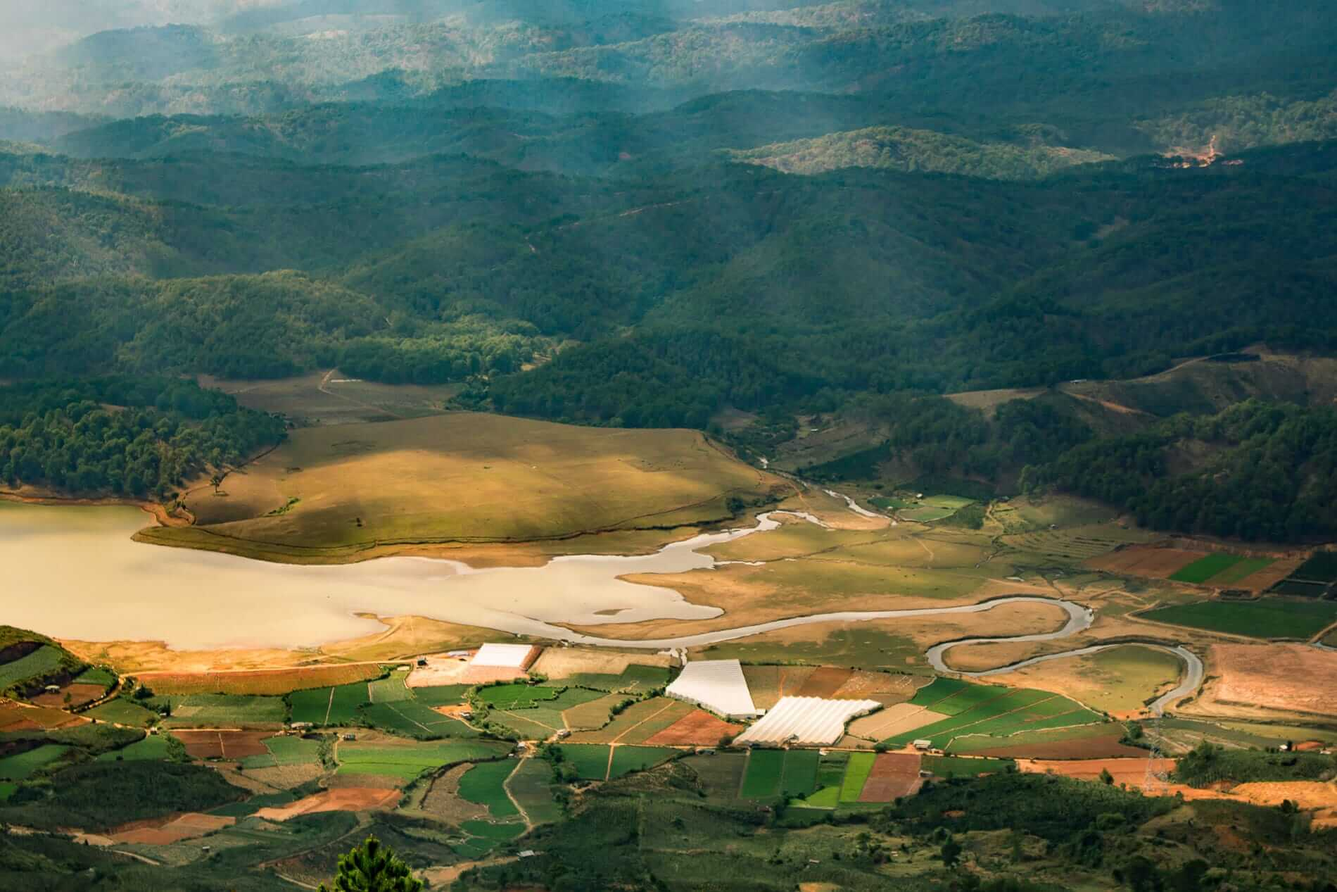 Mountains and fields at Da Lat