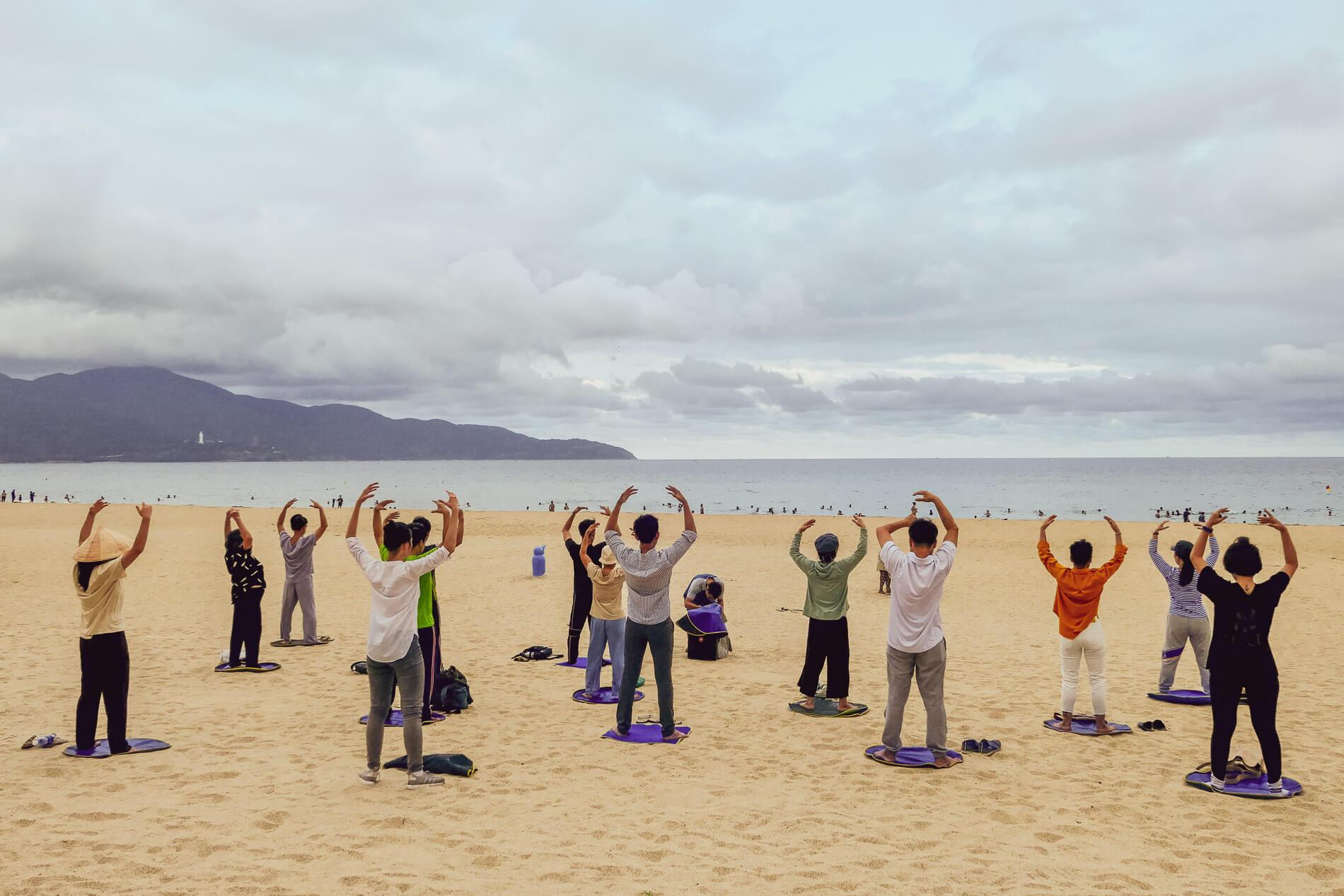 Yoga class on My Khe Beach in Da Nang