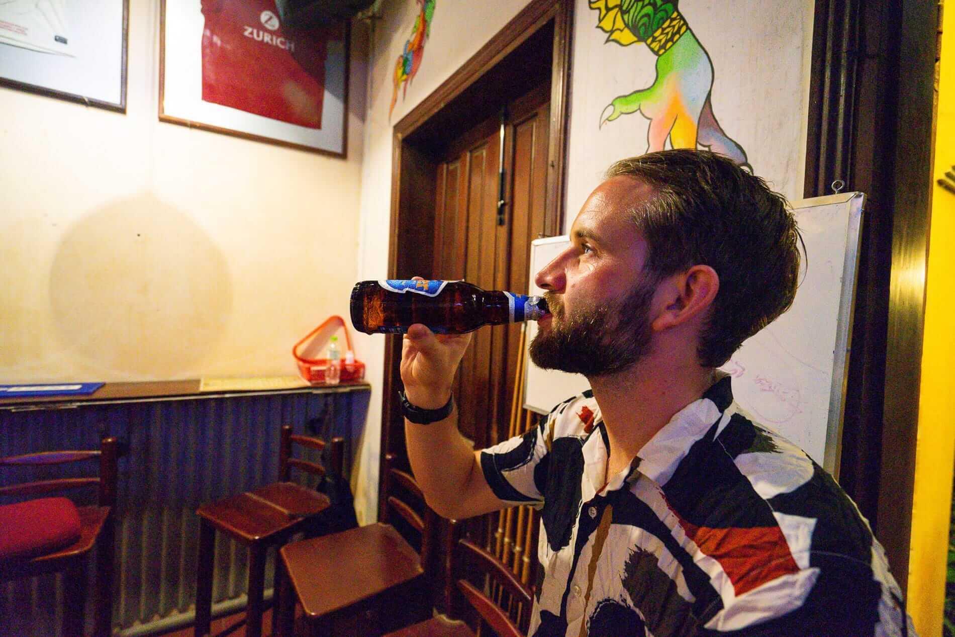 Drinking tiger beer