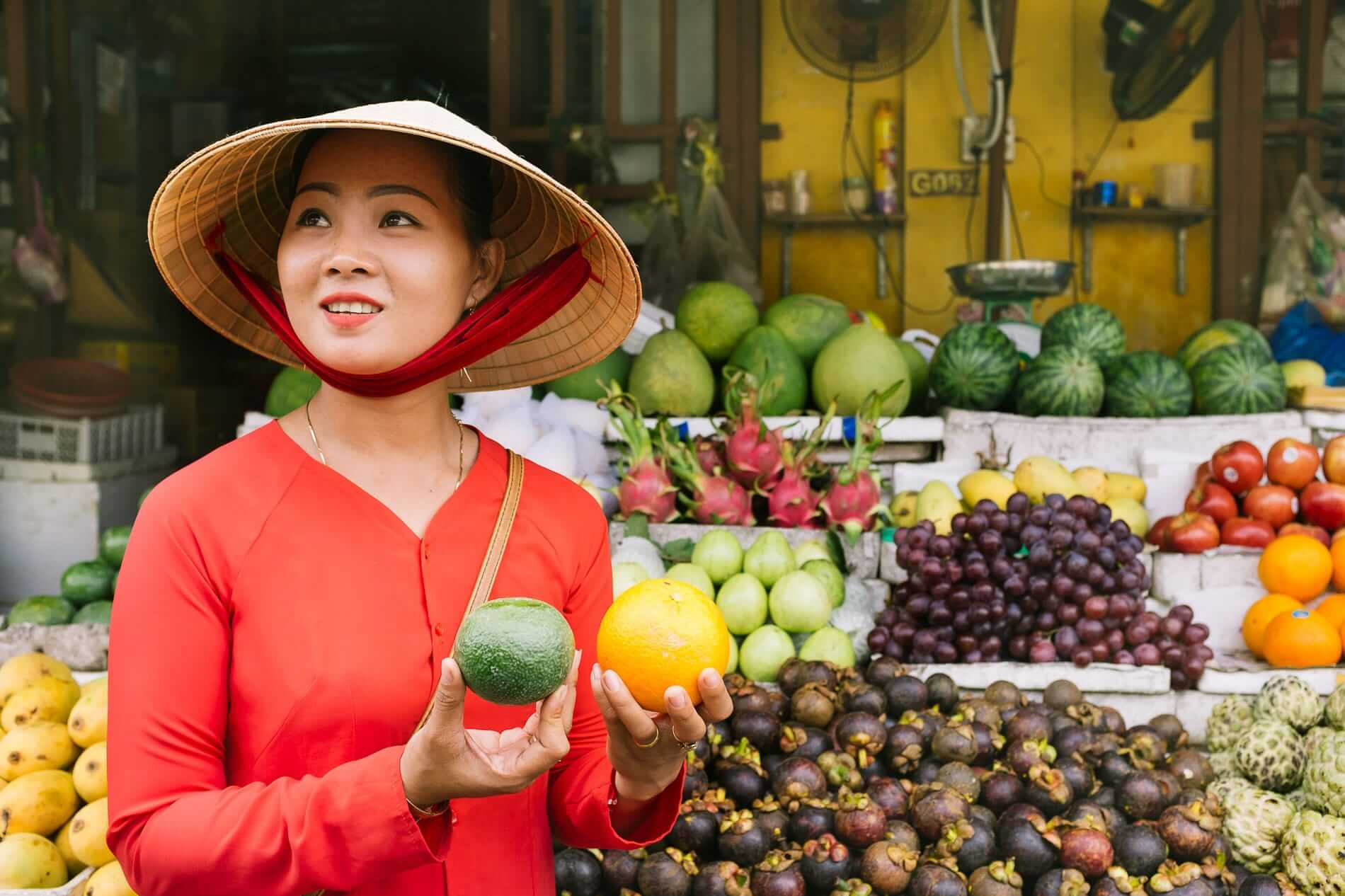 Visiting Hoi An's market as part of a cooking class.