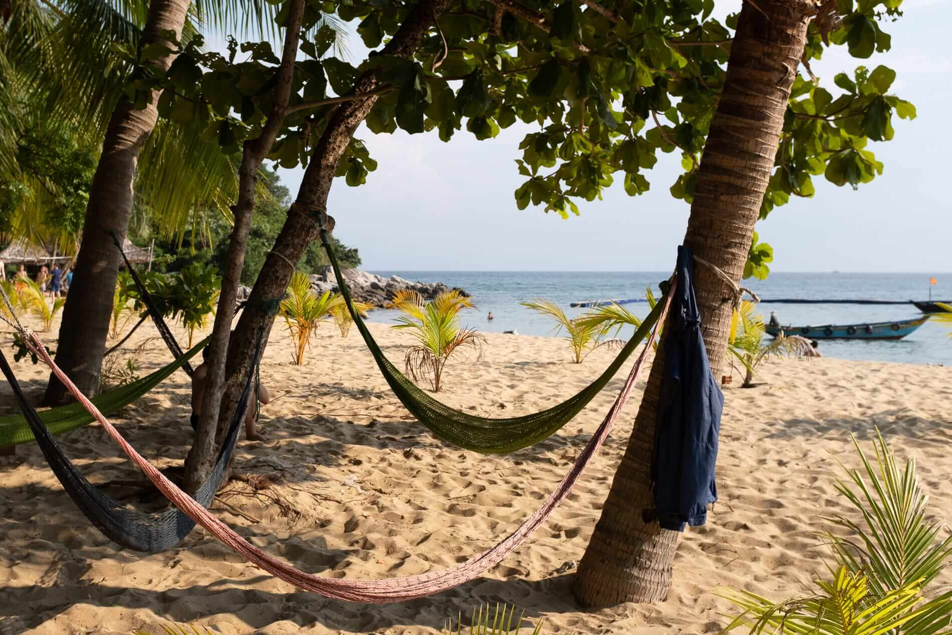 Hammocks strung between palm trees on the Cham Islands
