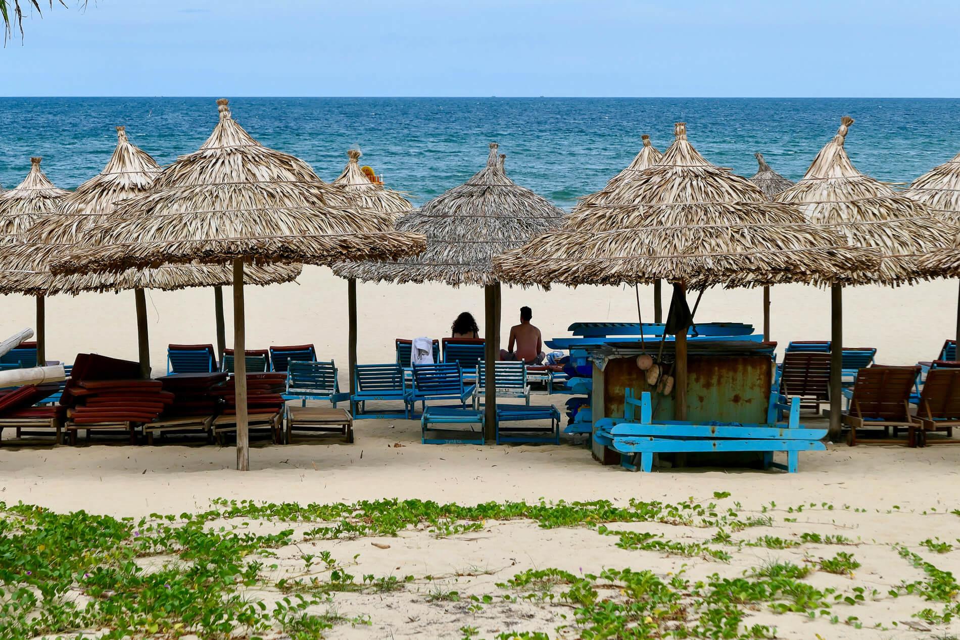 shaded sun loungers along Da Nang beaches