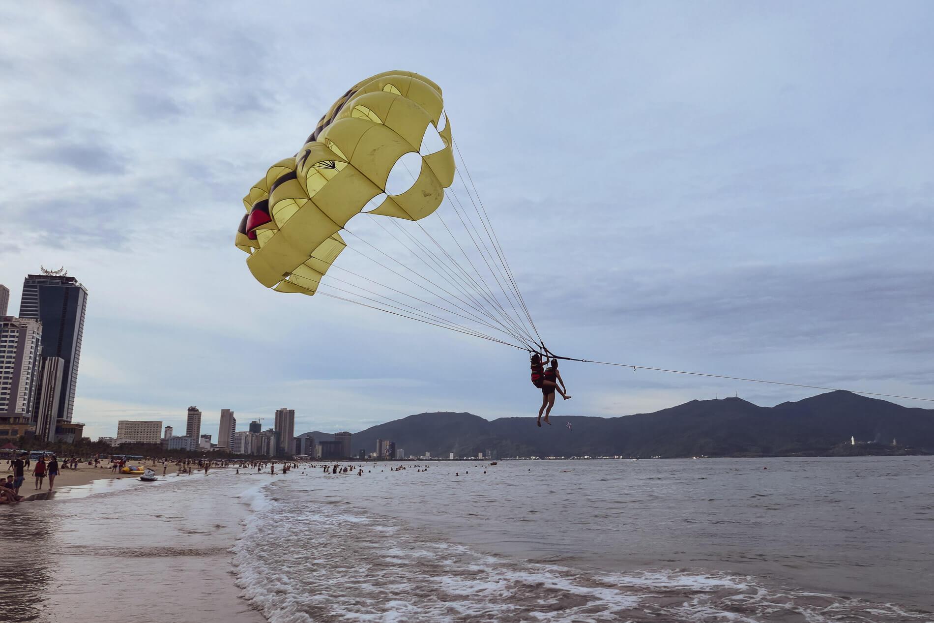 a parasailing ride at My Khe Beach