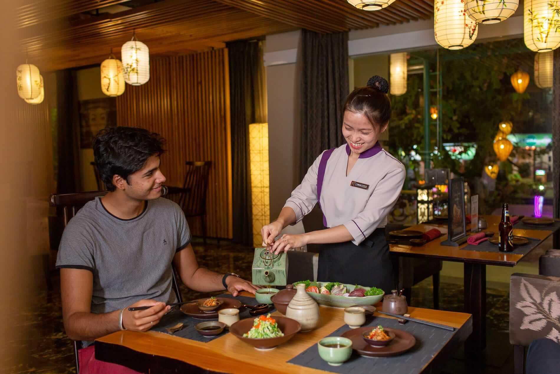 A traditional Japanese menu is found at Wakaku Restaurant
