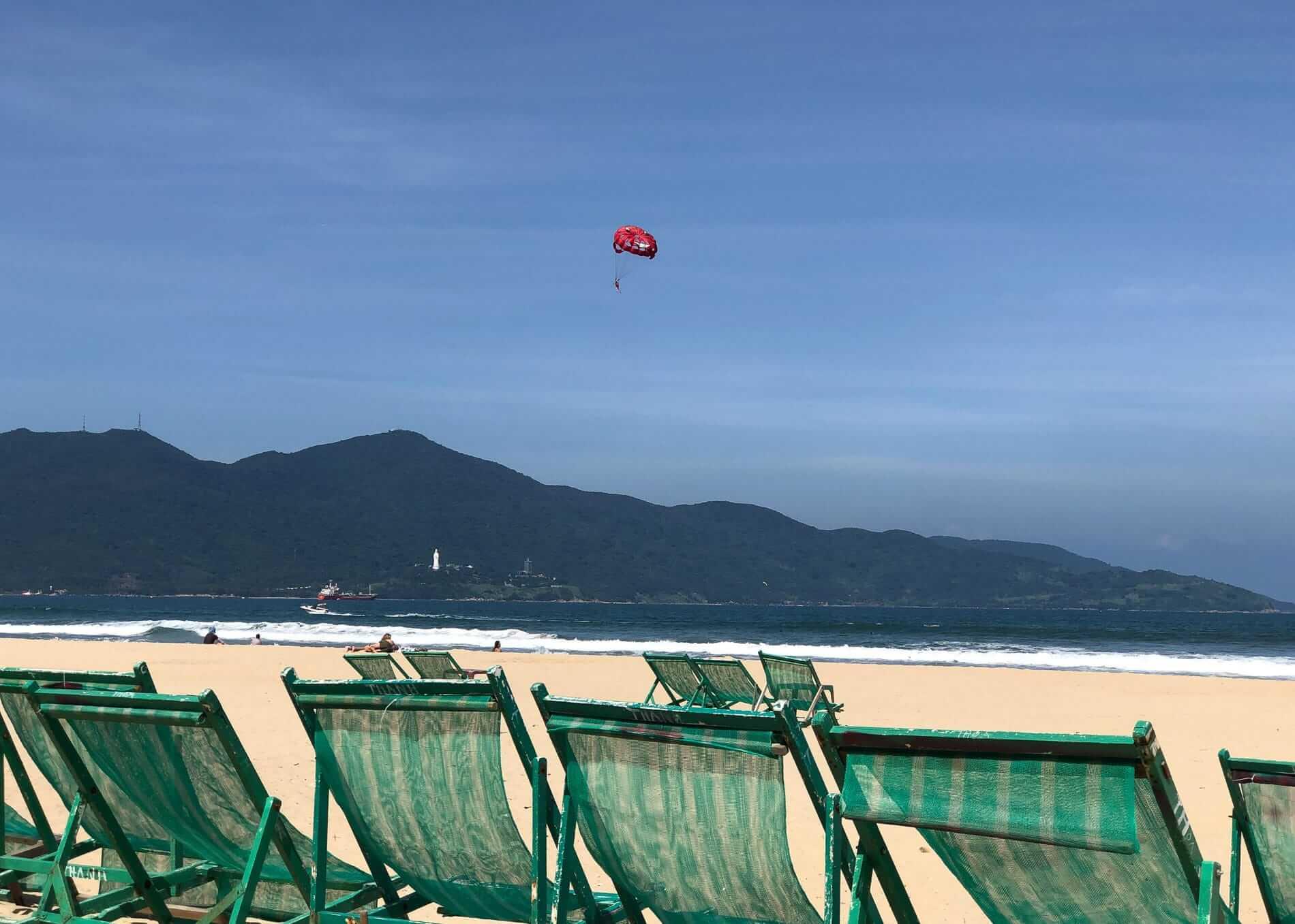 A beautiful day to do parasailing