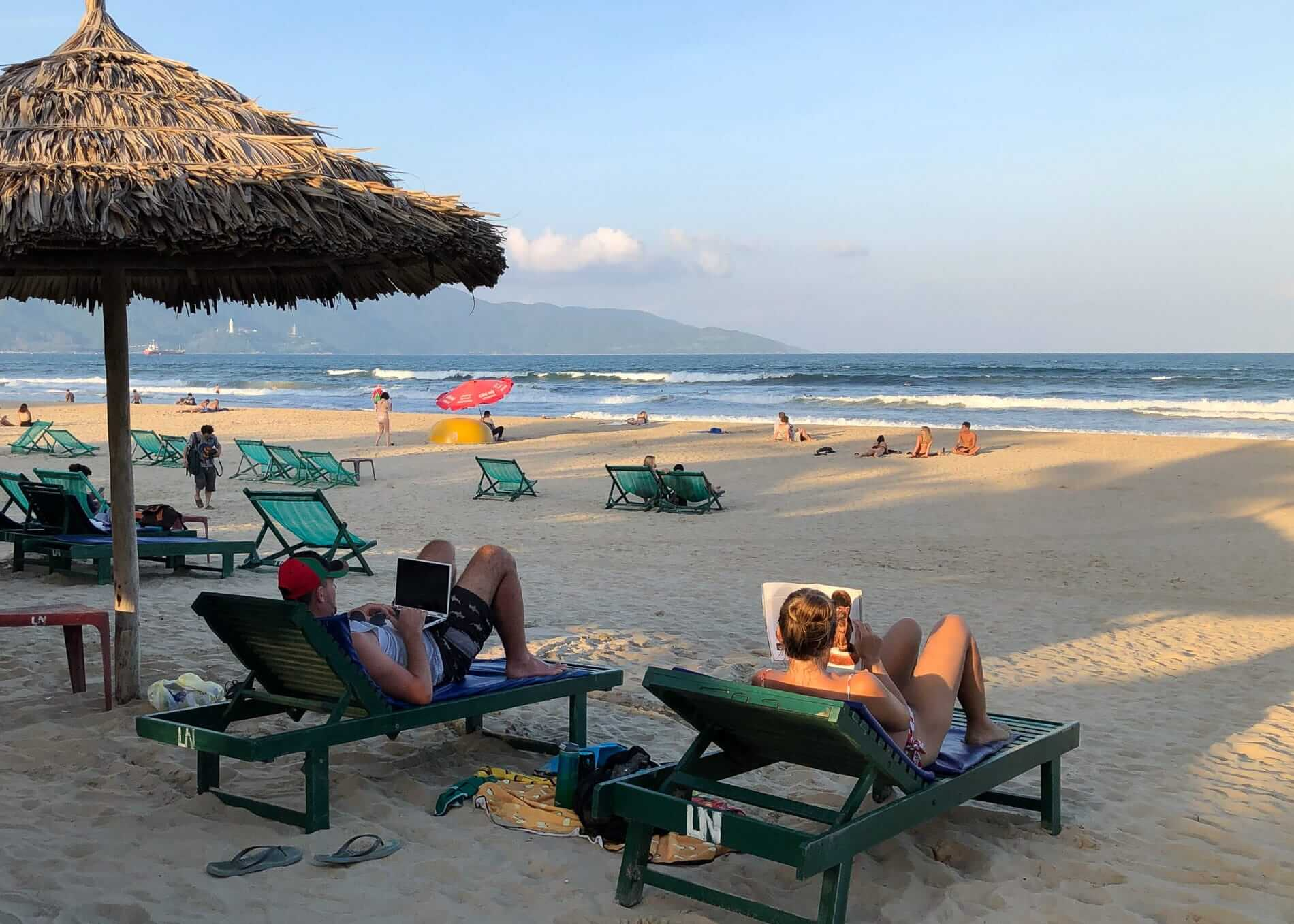 tourists relaxing at My Khe Beach