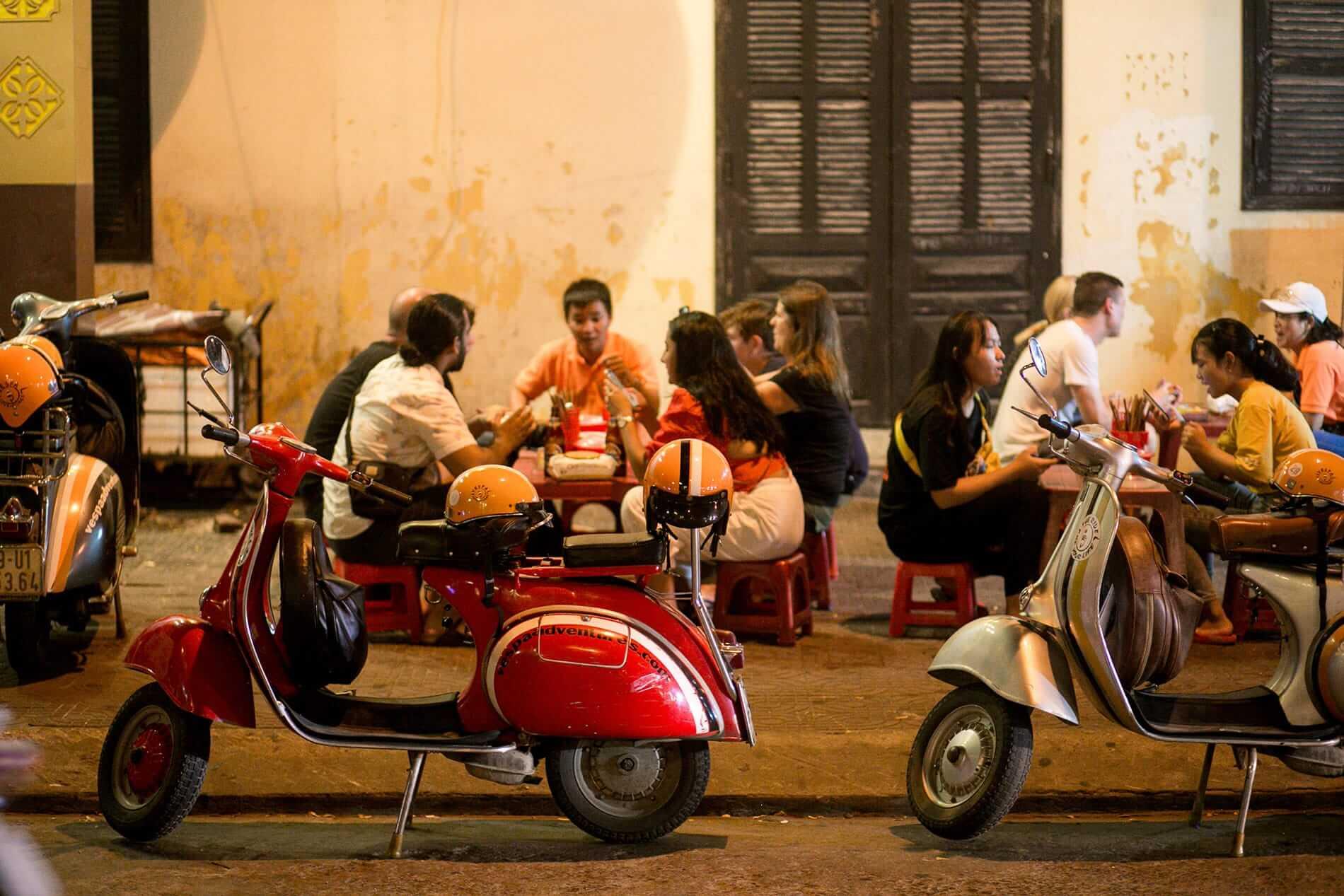 Vespa scooters on display