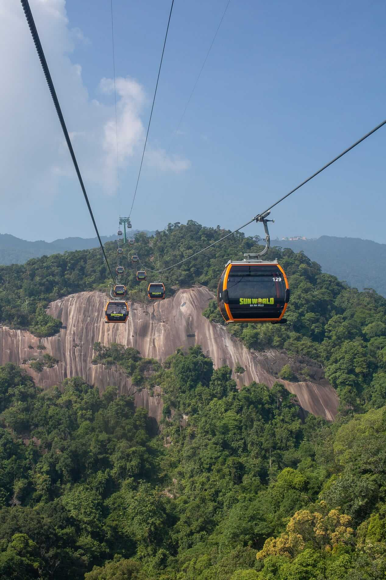 A line of cable cars