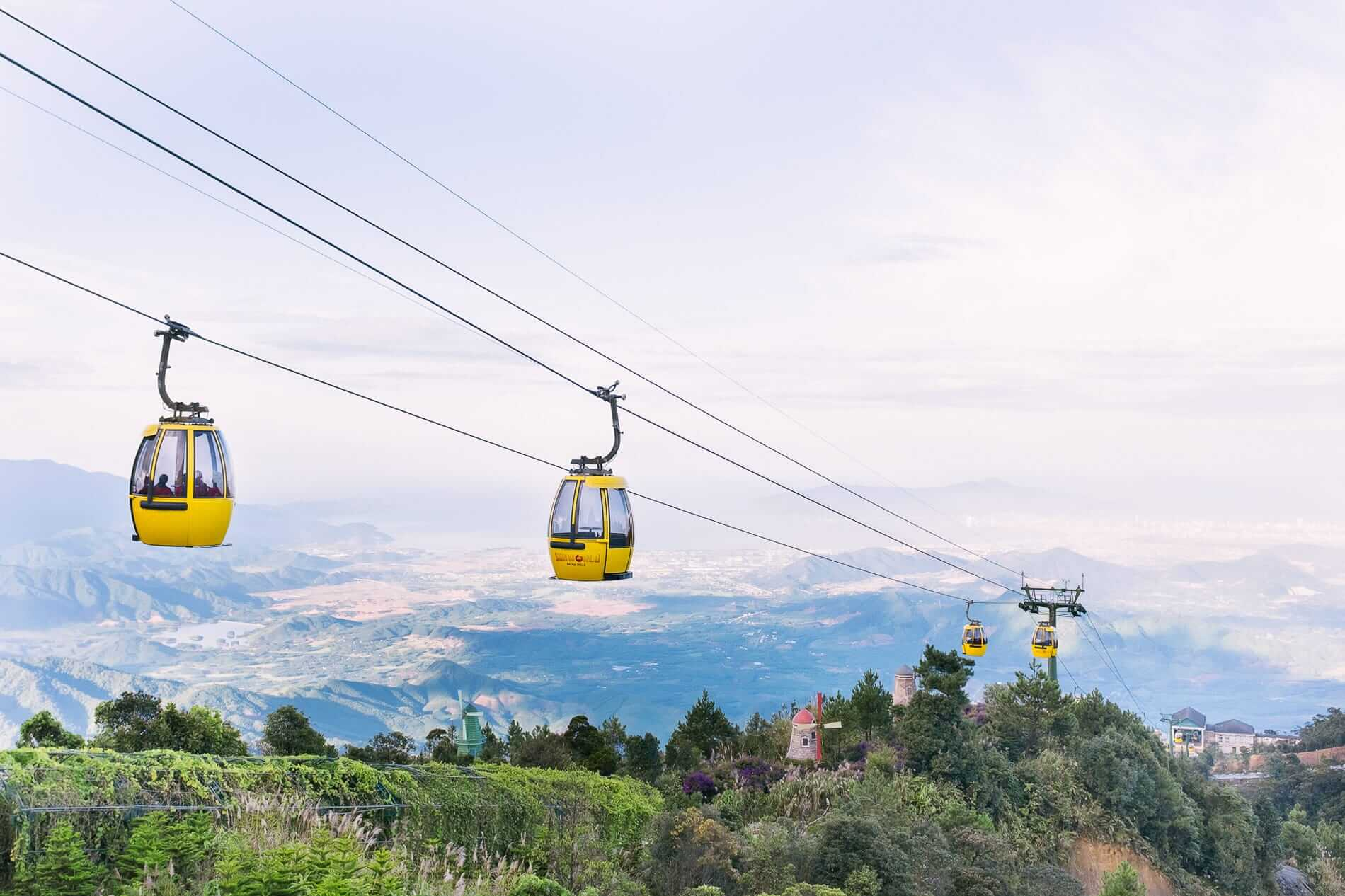 yellow cable cars at Ba Na Hills