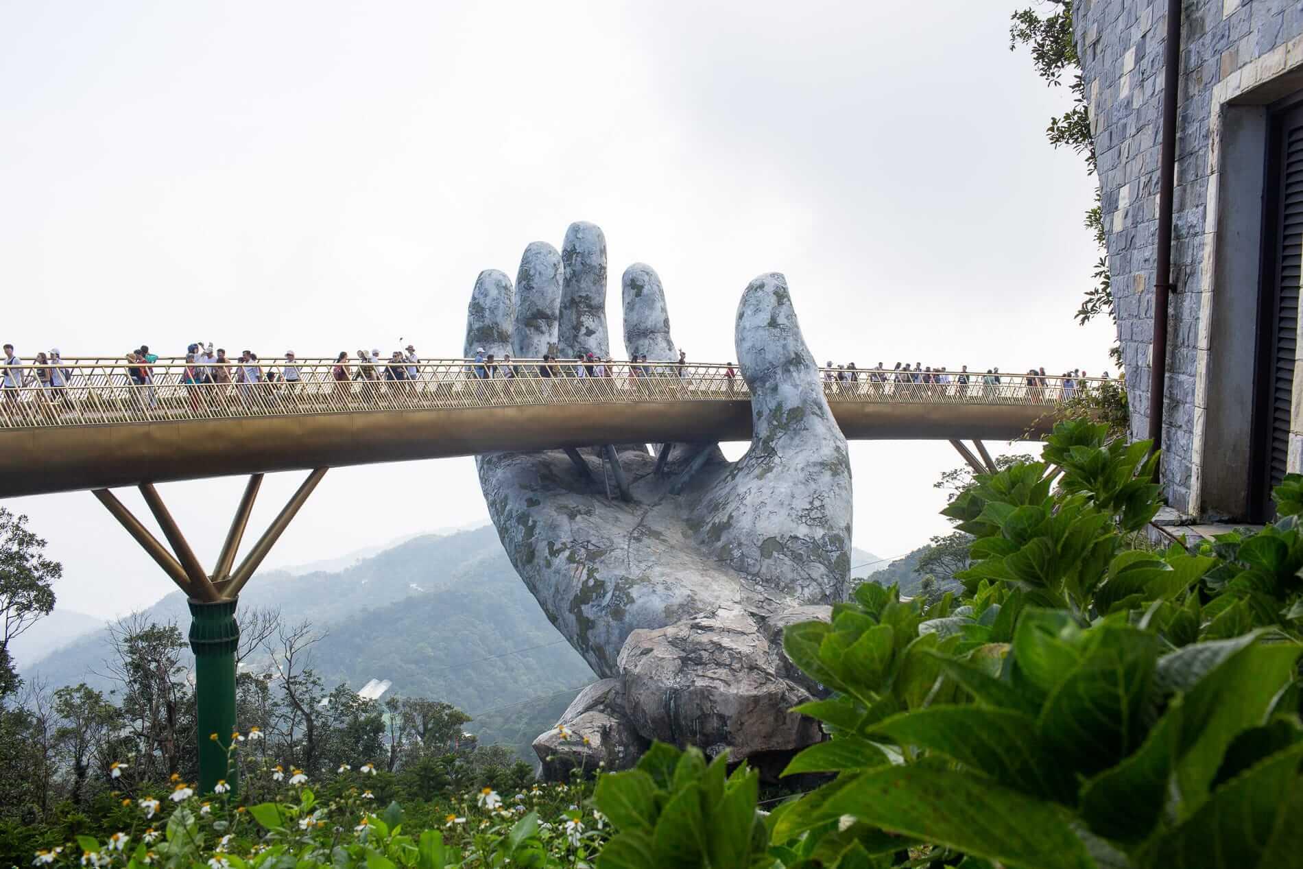 Visitors on the golden bridge