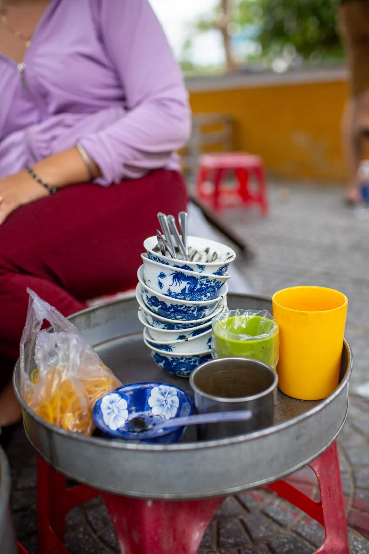 empty bowls at a street stall in Hoi An