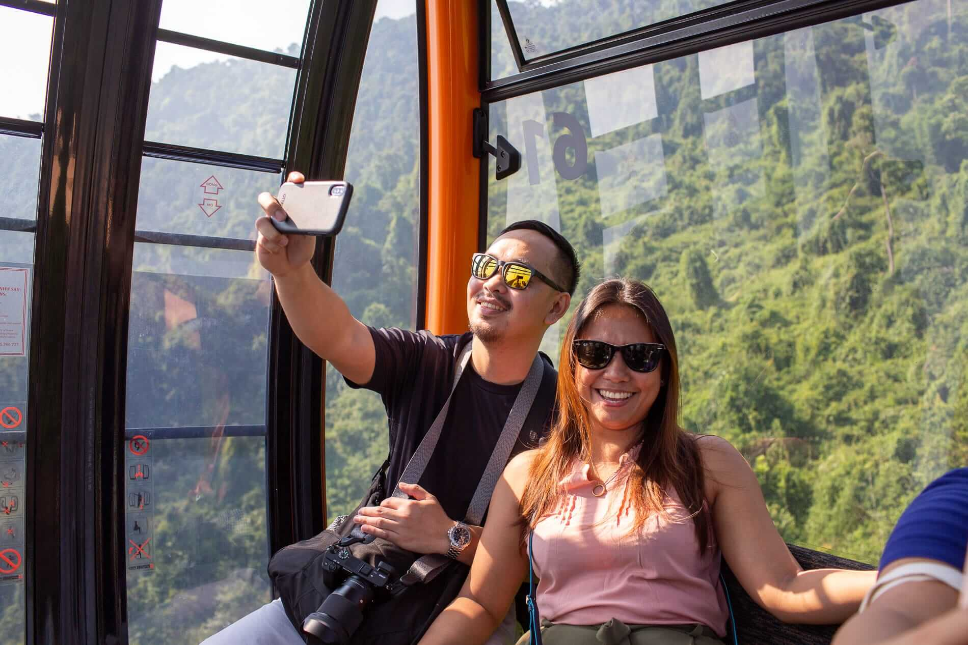 Taking a selfie in the cable car of Ba Na Hills