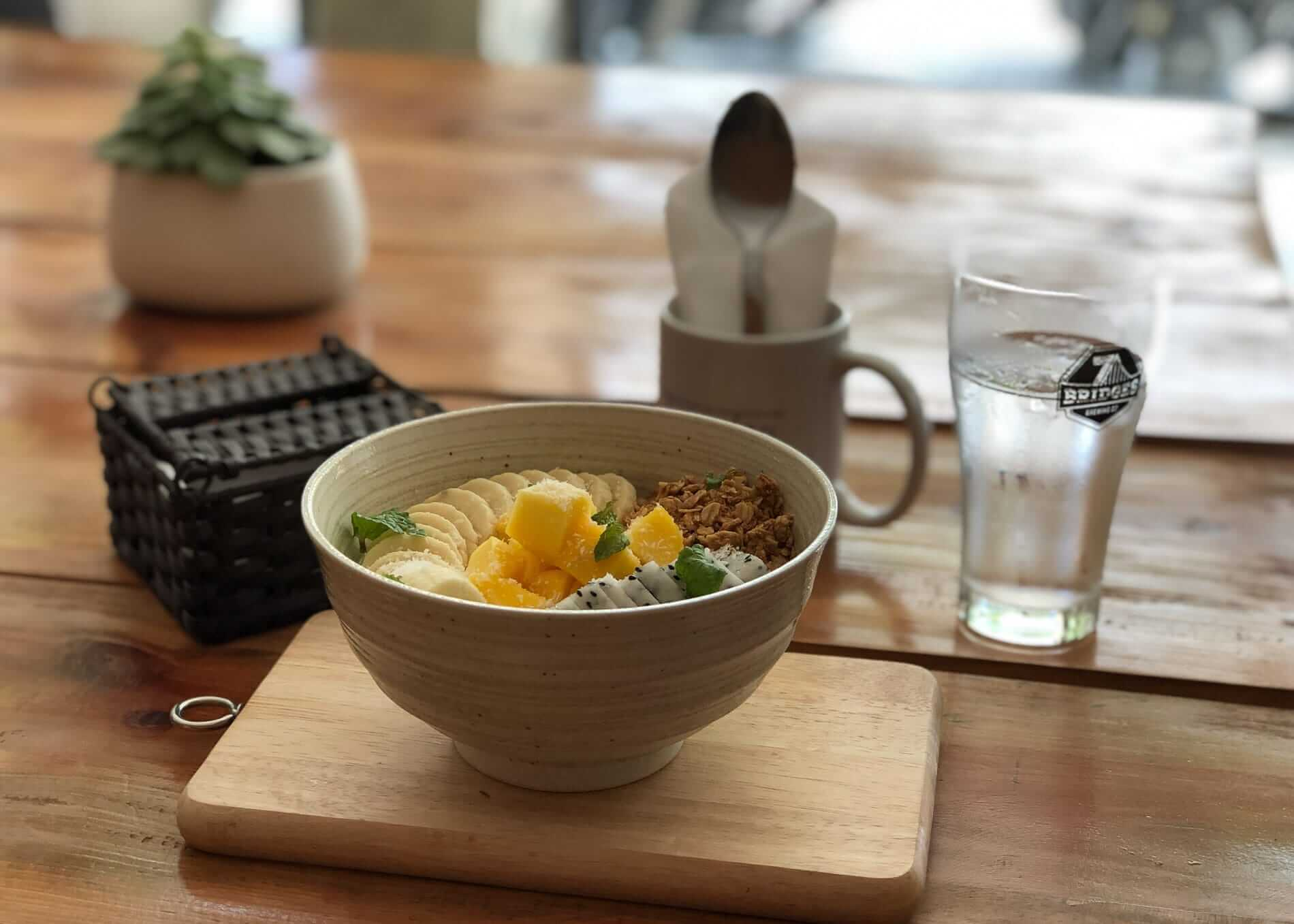 tropical breakfast at Ten to Ten Hostel