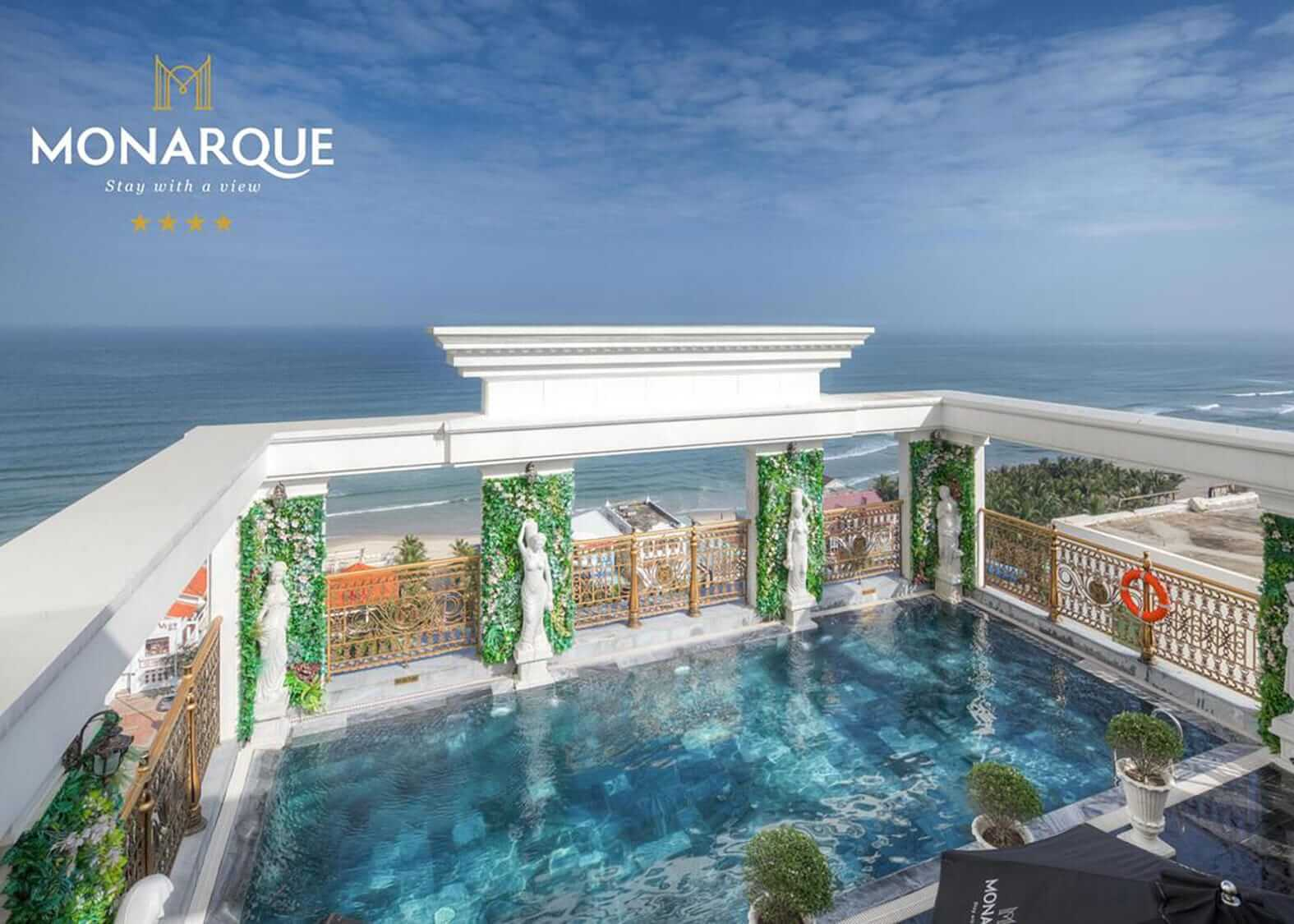 Rooftop pool view of Monarque