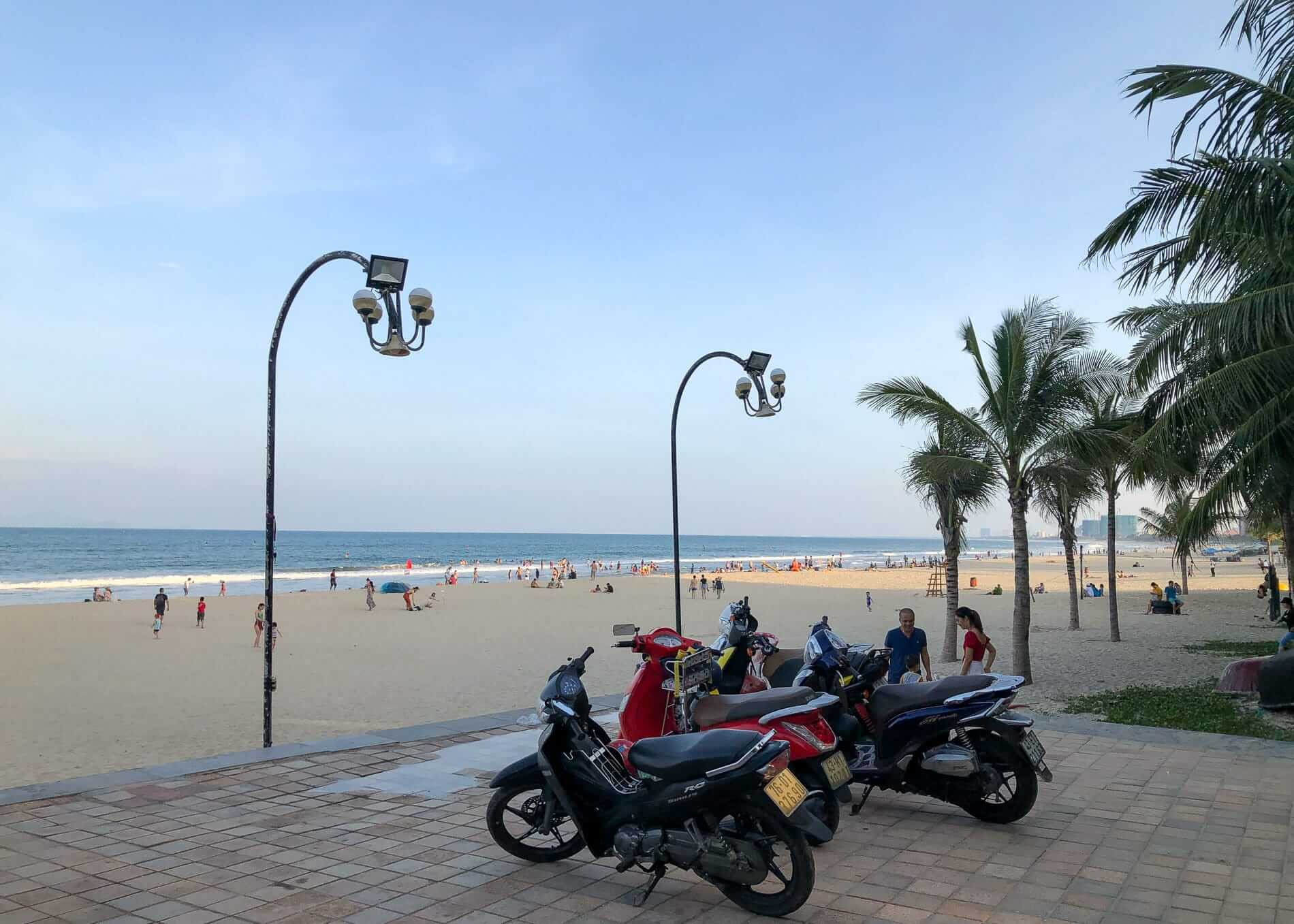 Motorcycles illegally parked at My Khe Beach