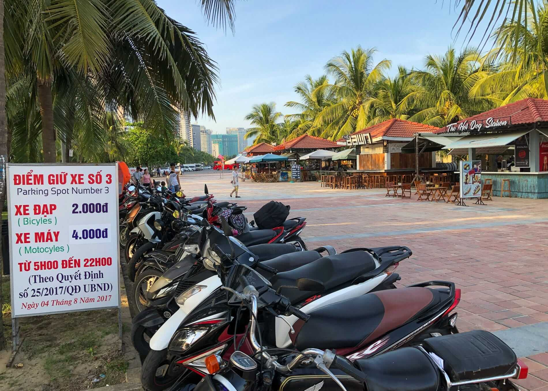 motorbikes lined at My Khe Beach