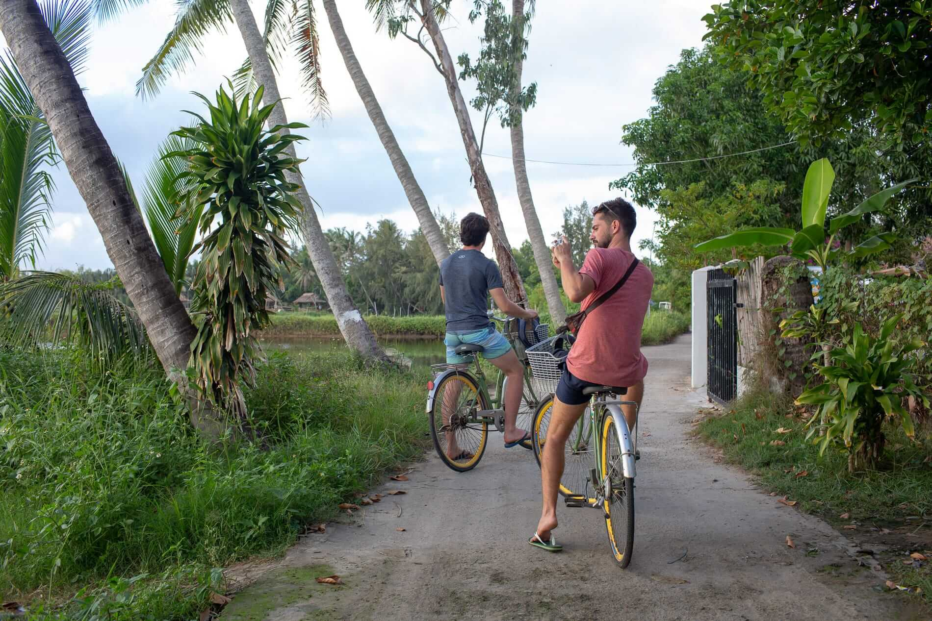 clyclist in Hoi An during the best time to visit Hoi An