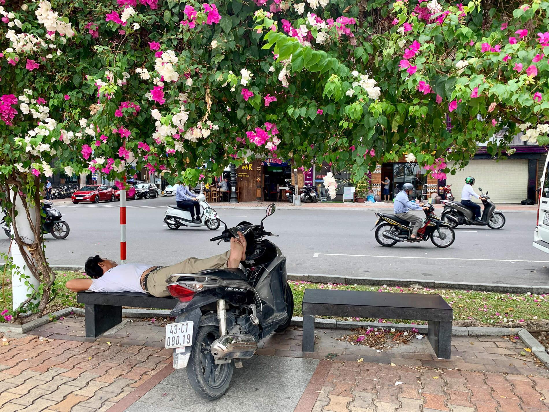 A man relaxing during a hot day in Da Nang