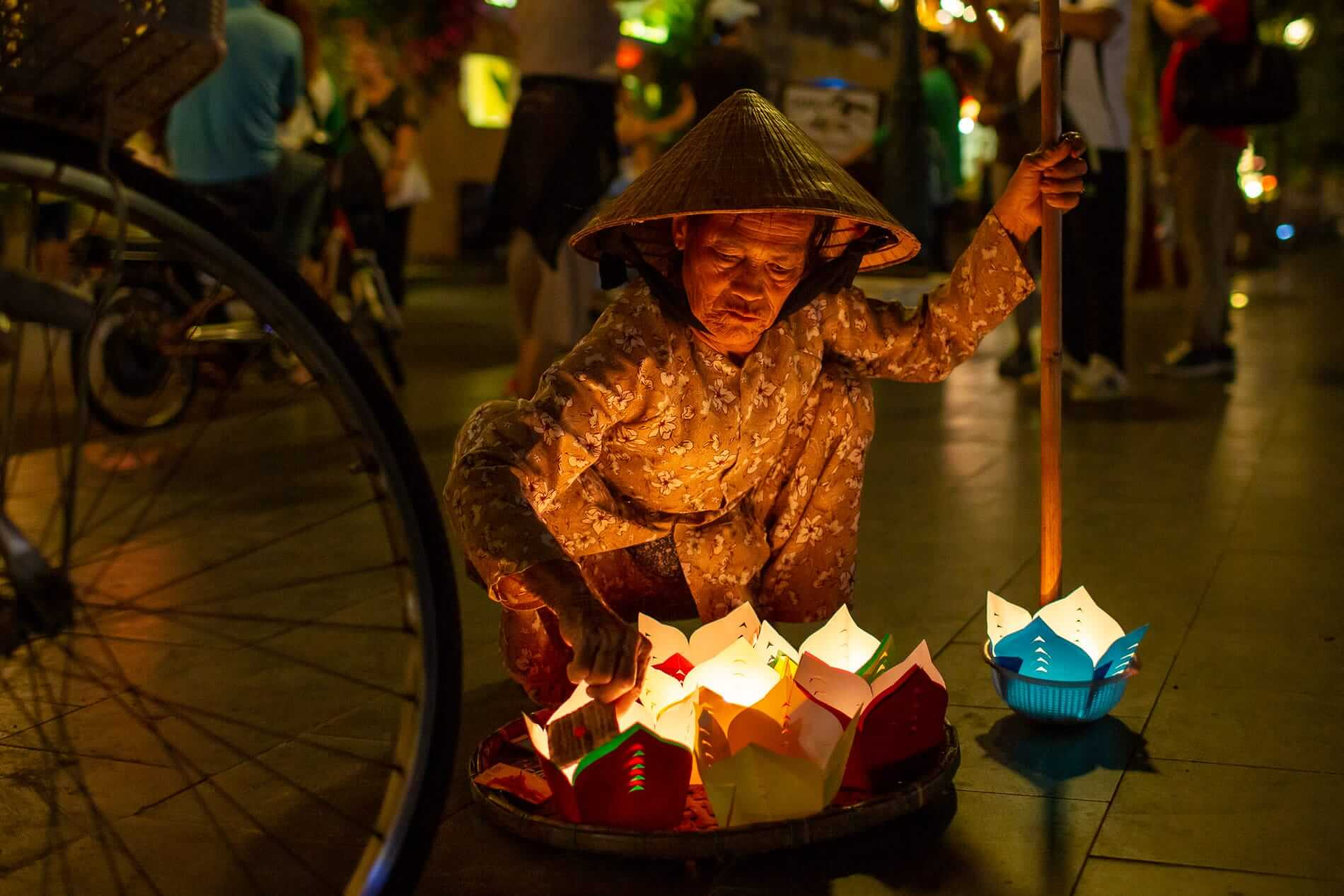 lanterns being prepared for wandering souls day: best time to visit Hoi An