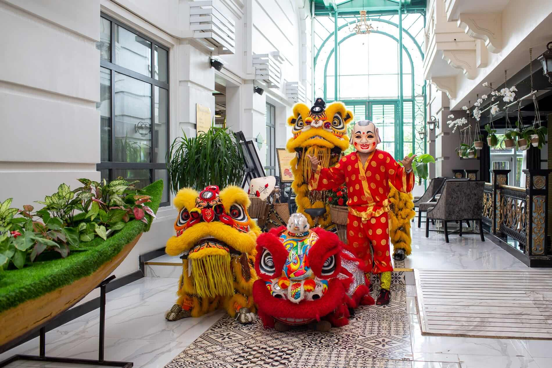 a mid autumn performance by lion dancers at Hotel Royal