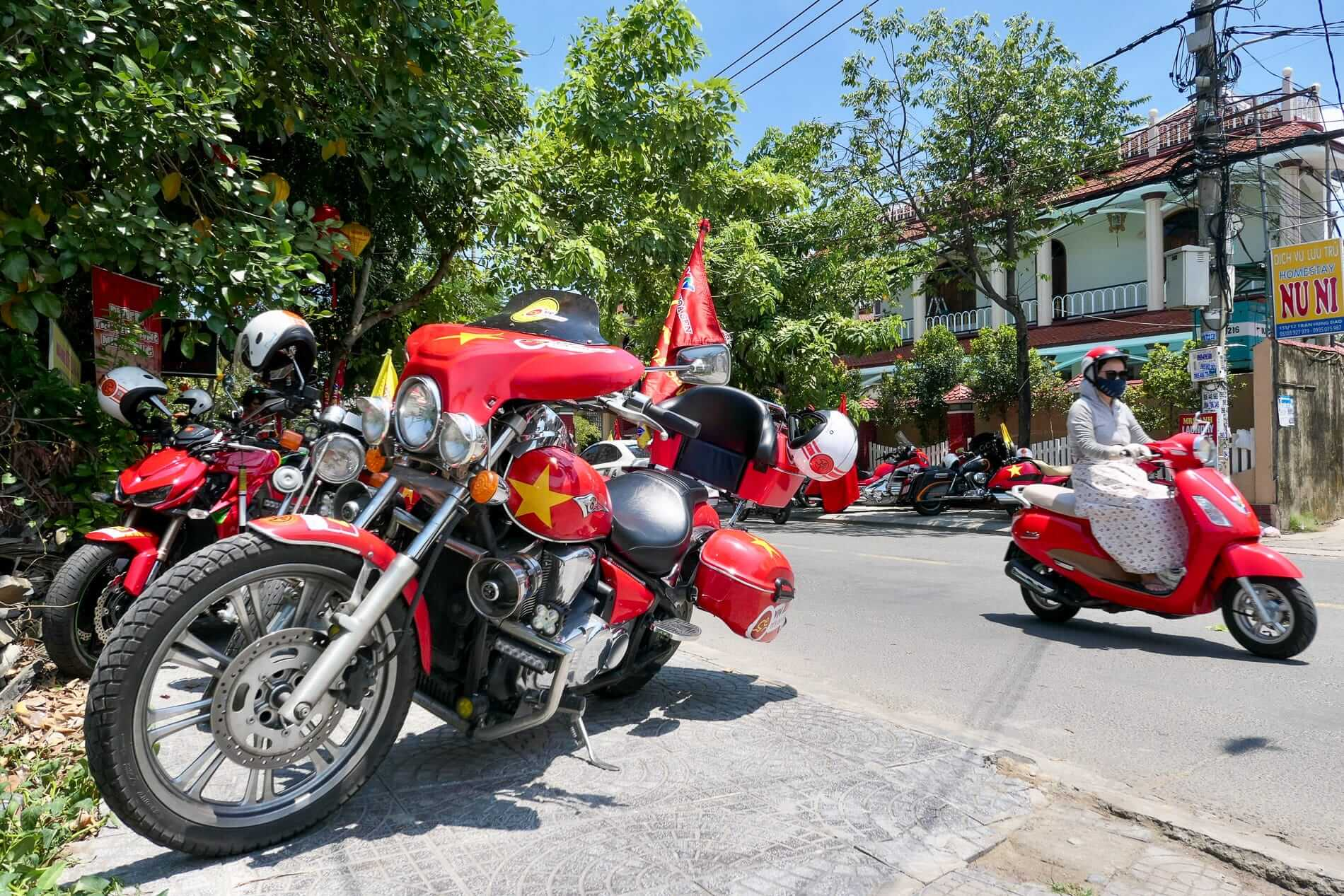 Red motorcycles parked in Vietnam